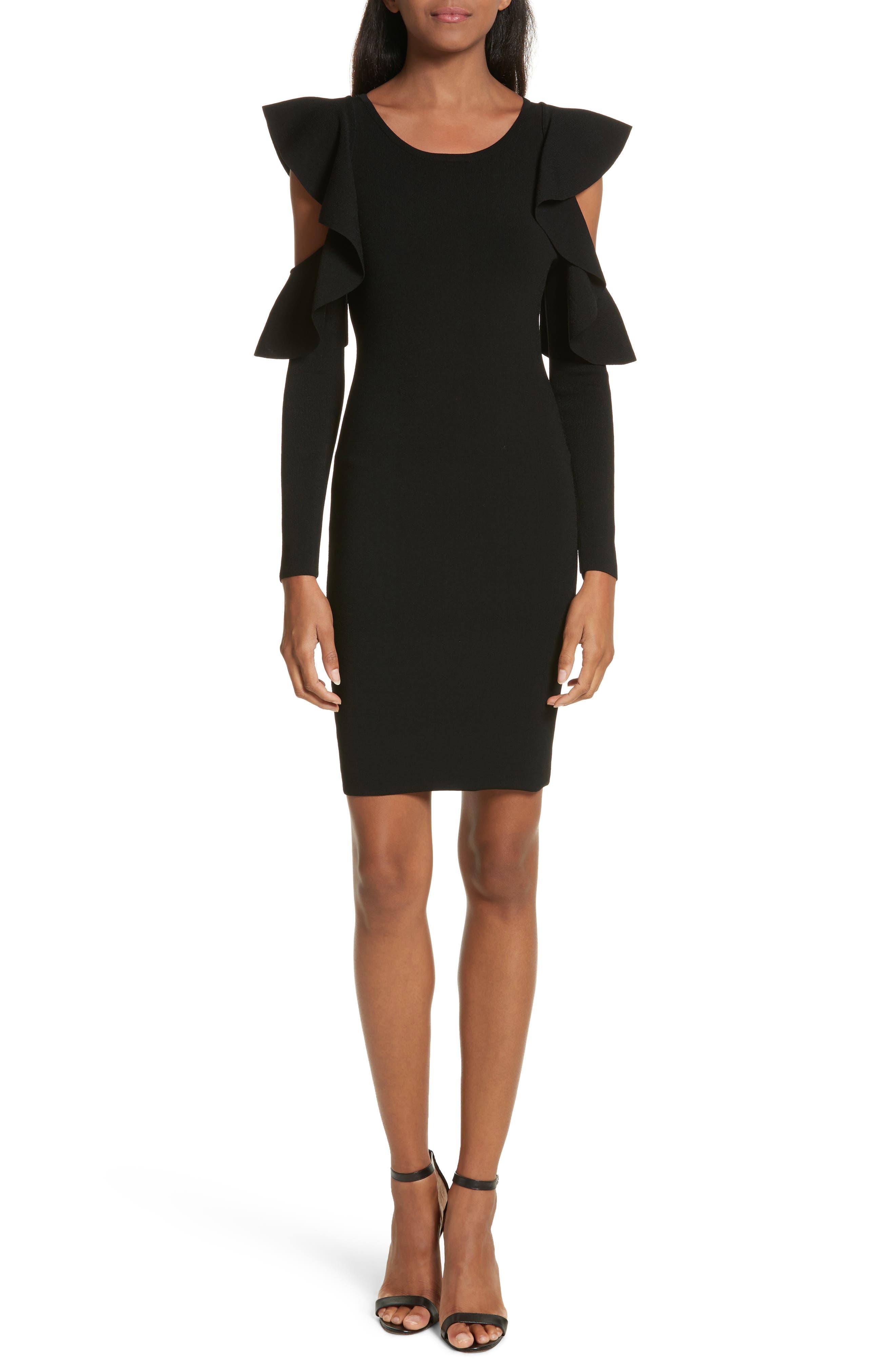 Cold Shoulder Flounce Sheath Dress,                             Main thumbnail 1, color,                             Black