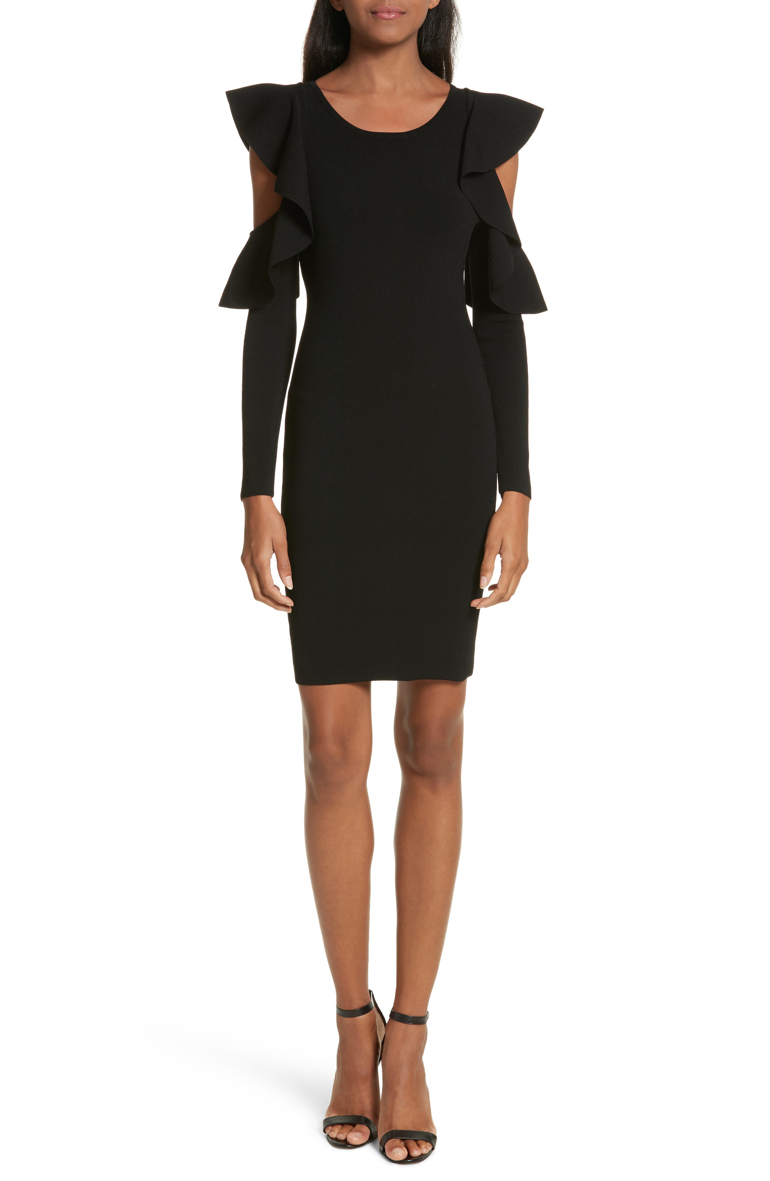 Main Image - Milly Cold Shoulder Flounce Sheath Dress