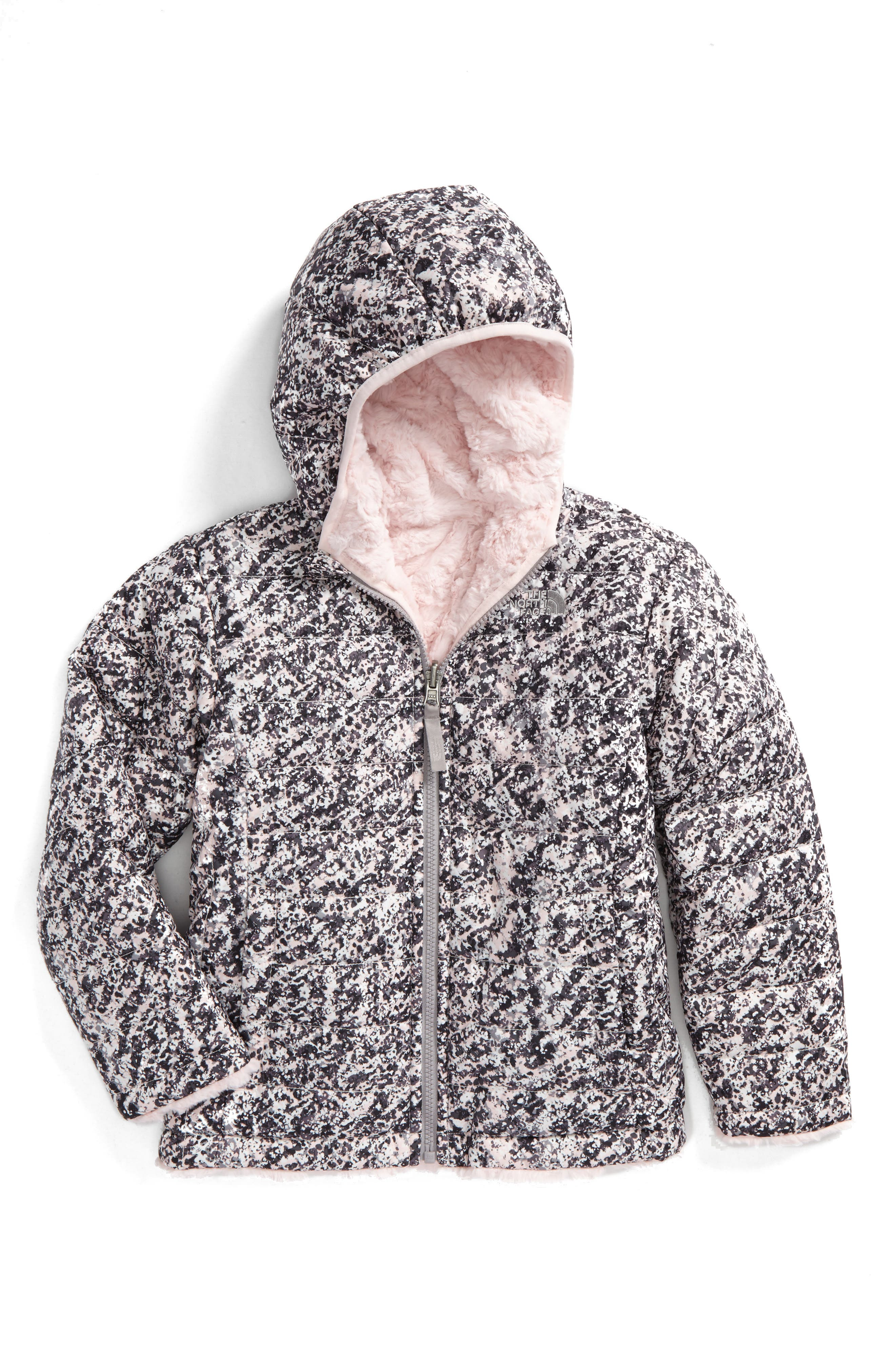Mossbud Swirl Reversible Water Repellent Jacket,                             Main thumbnail 1, color,                             Purdy Pink Sponge Print