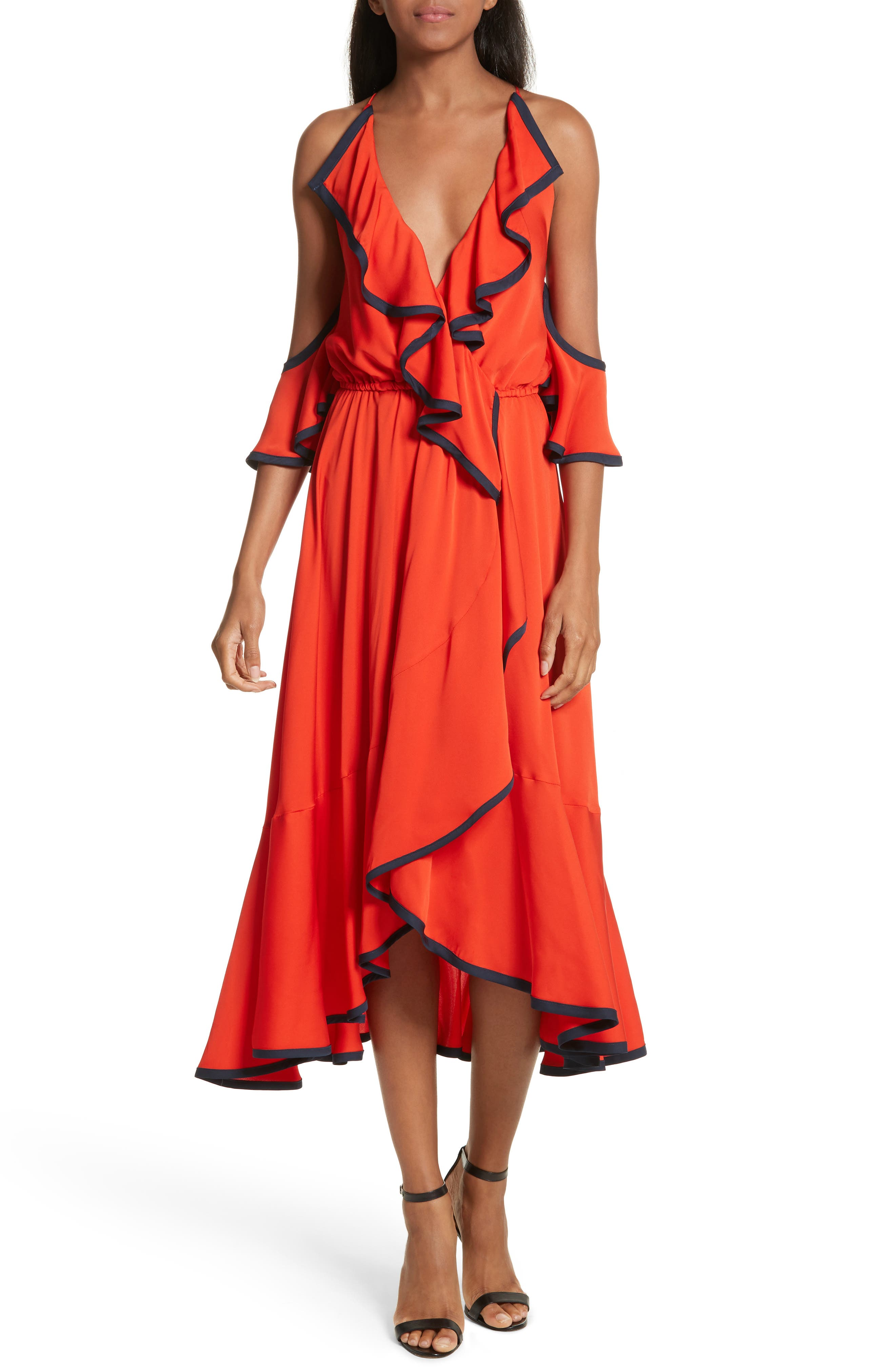 Bryce Ruffle Stretch Silk Fit & Flare Dress,                         Main,                         color, Poppy/ Navy