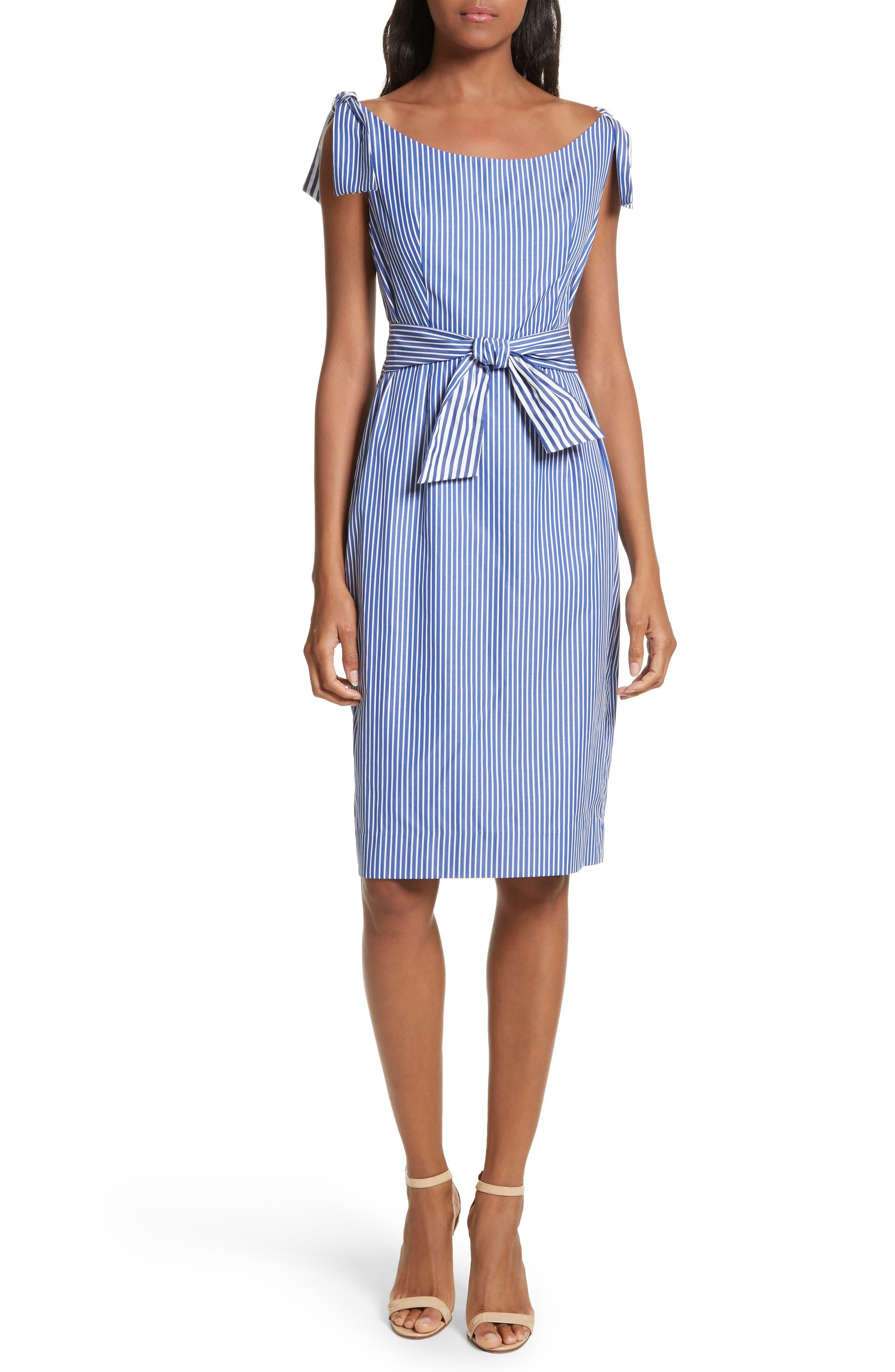 Candice Stripe Shirting Tie Dress,                         Main,                         color, Navy