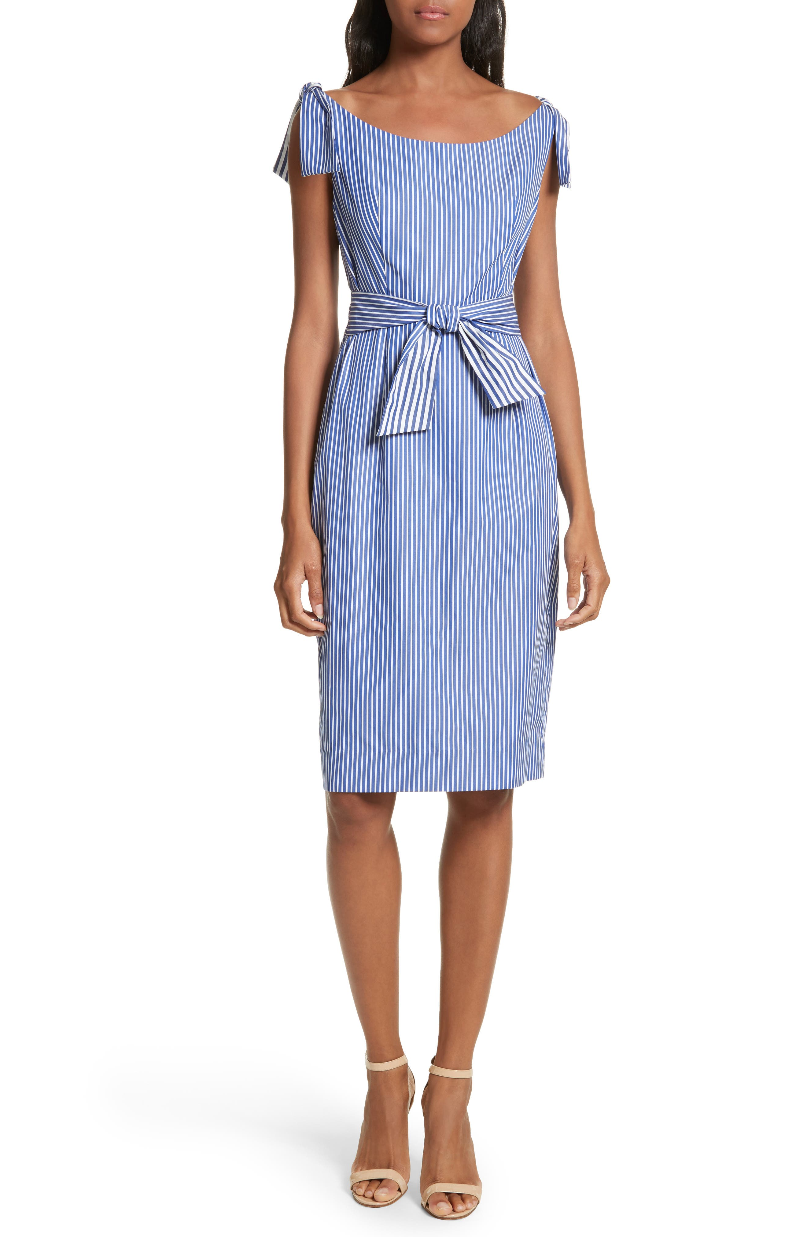 Milly Candice Stripe Shirting Tie Dress