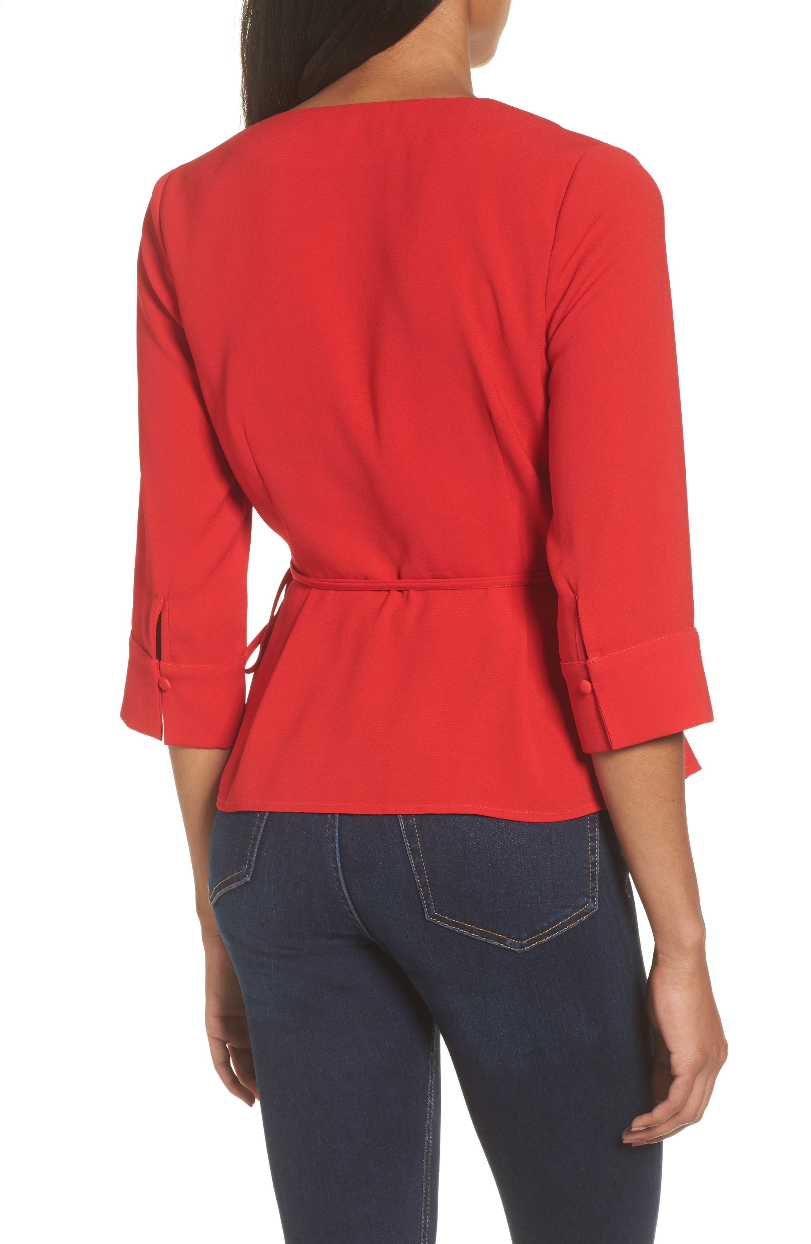 Wrap Top,                             Alternate thumbnail 2, color,                             Red