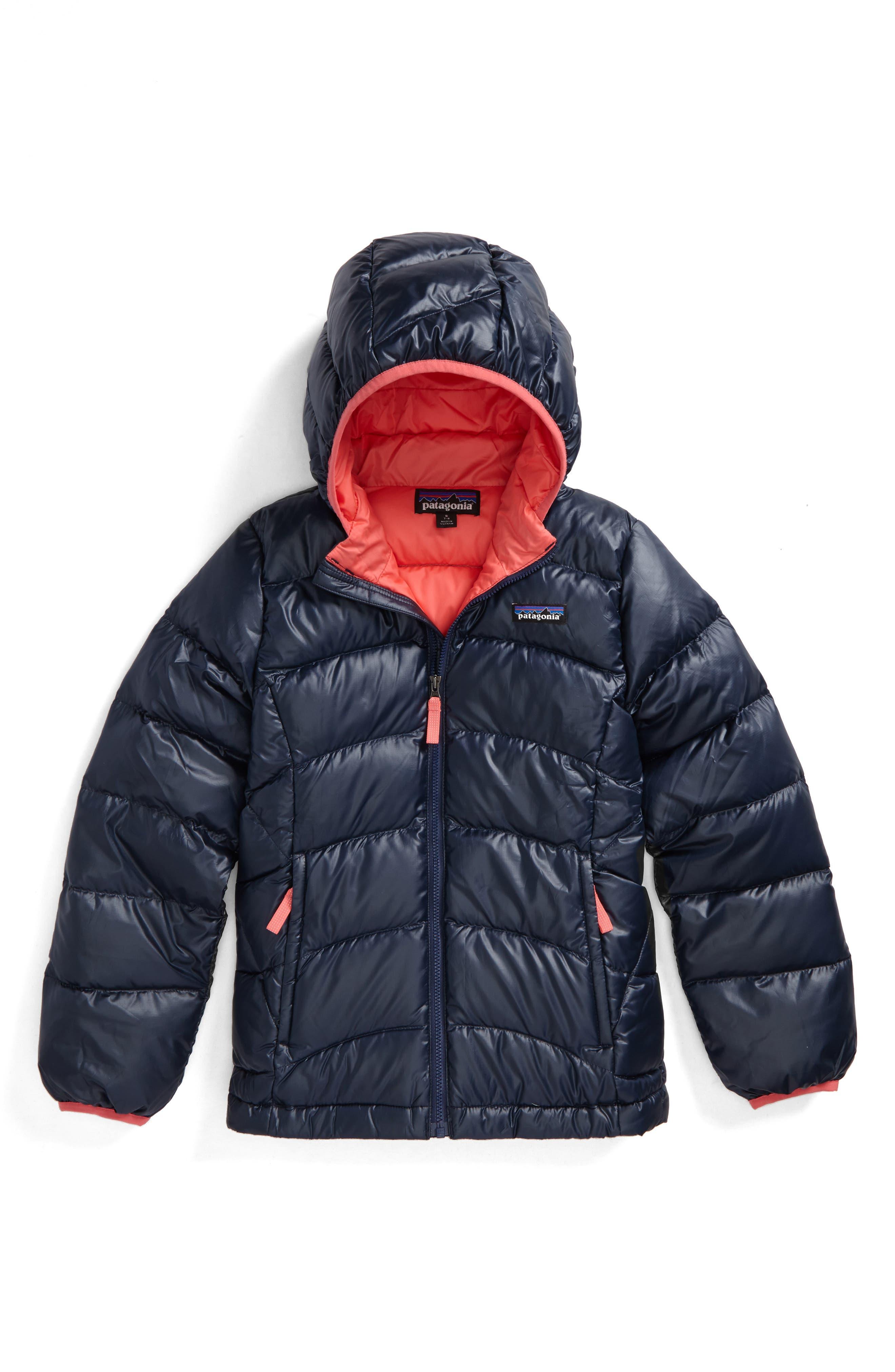 Main Image - Patagonia Hi-Loft Down Sweater Hooded Jacket (Little Girls & Big Girls)