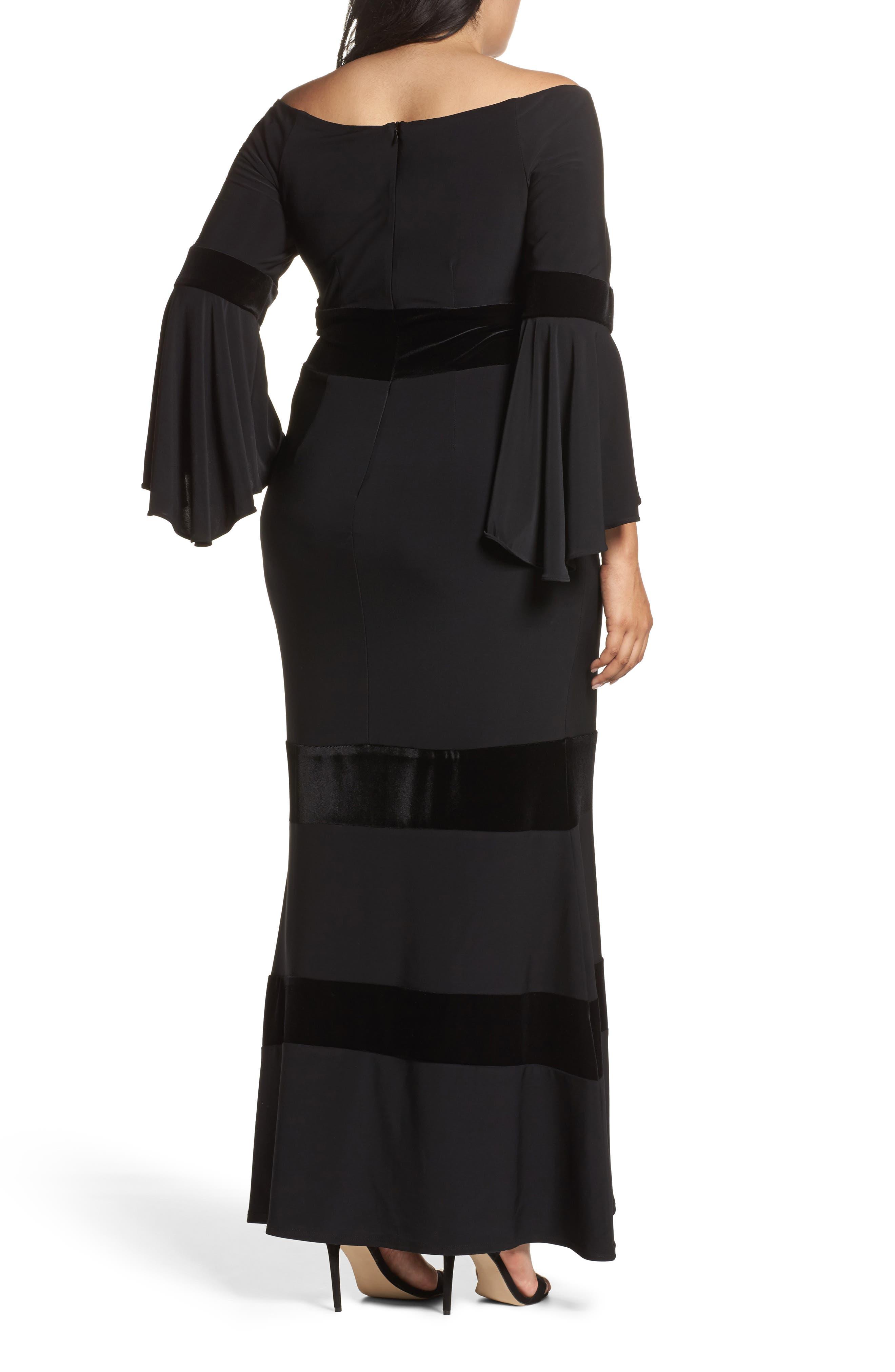 Alternate Image 2  - Xscape Velvet Trim Maxi Dress (Plus Size)