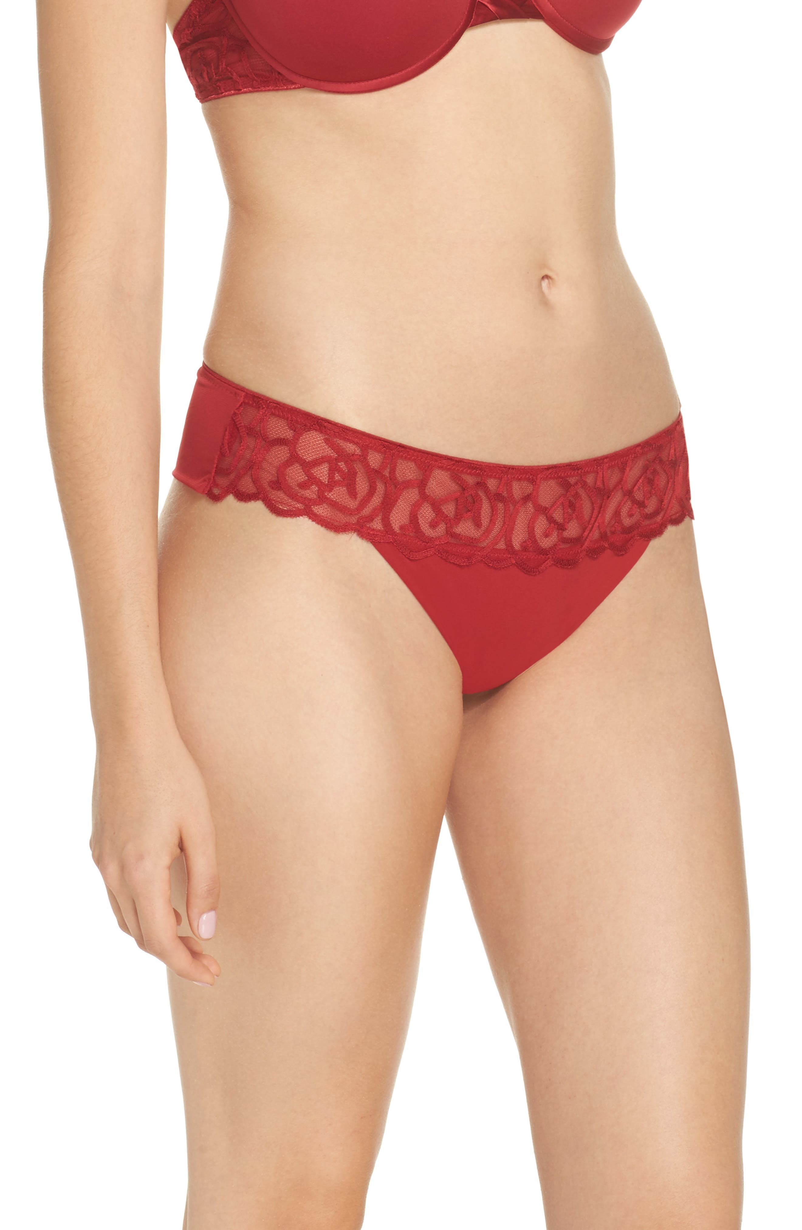 Chantelle Luxembourg Thong,                             Alternate thumbnail 3, color,                             Candy Apple