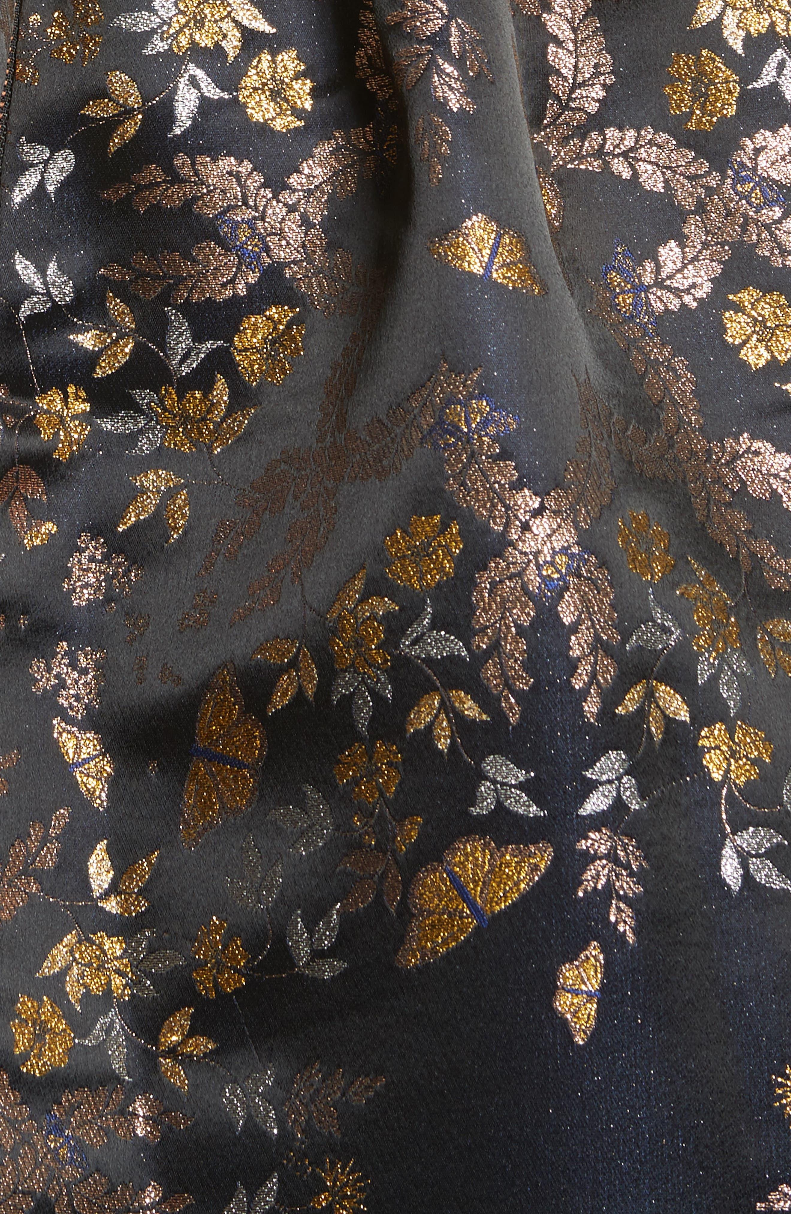Dotalle Kyoto Garden Jacquard Midi Dress,                             Alternate thumbnail 5, color,                             Black