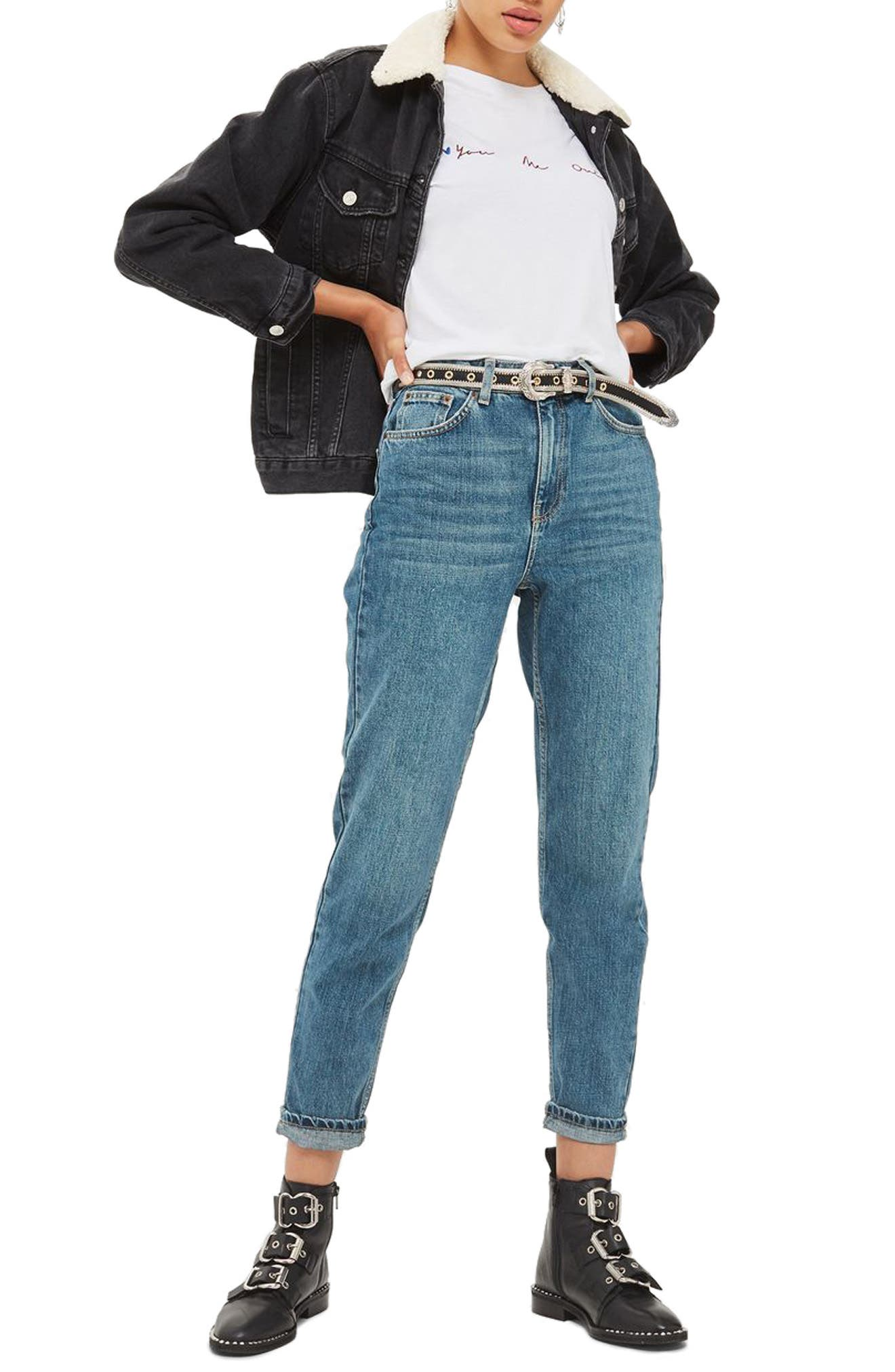 Mom Jeans,                             Main thumbnail 1, color,                             Mid Denim