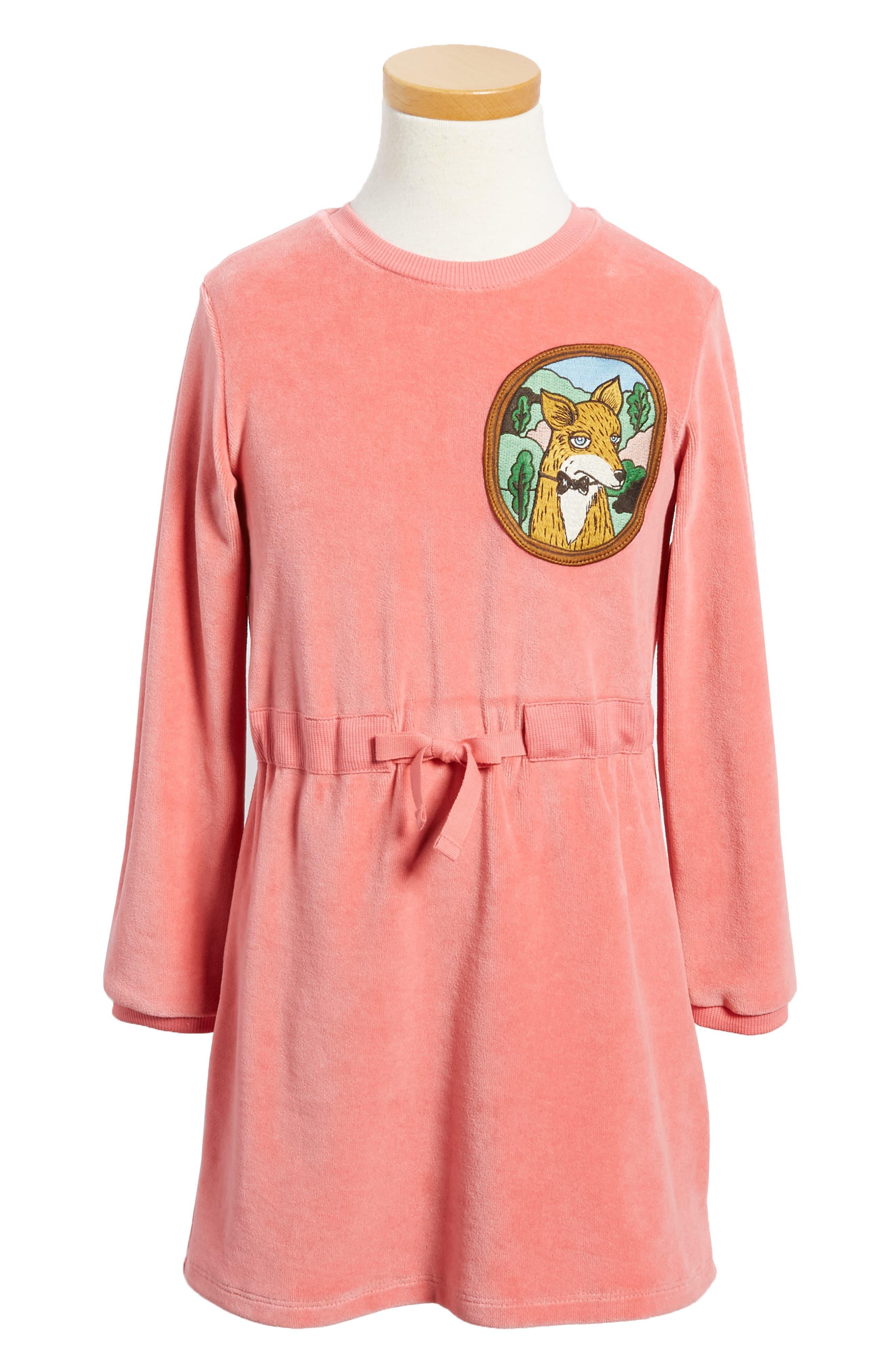 Main Image - Mini Rodini Fox Appliqué Velour Dress (Toddler Girls & Little Girls)