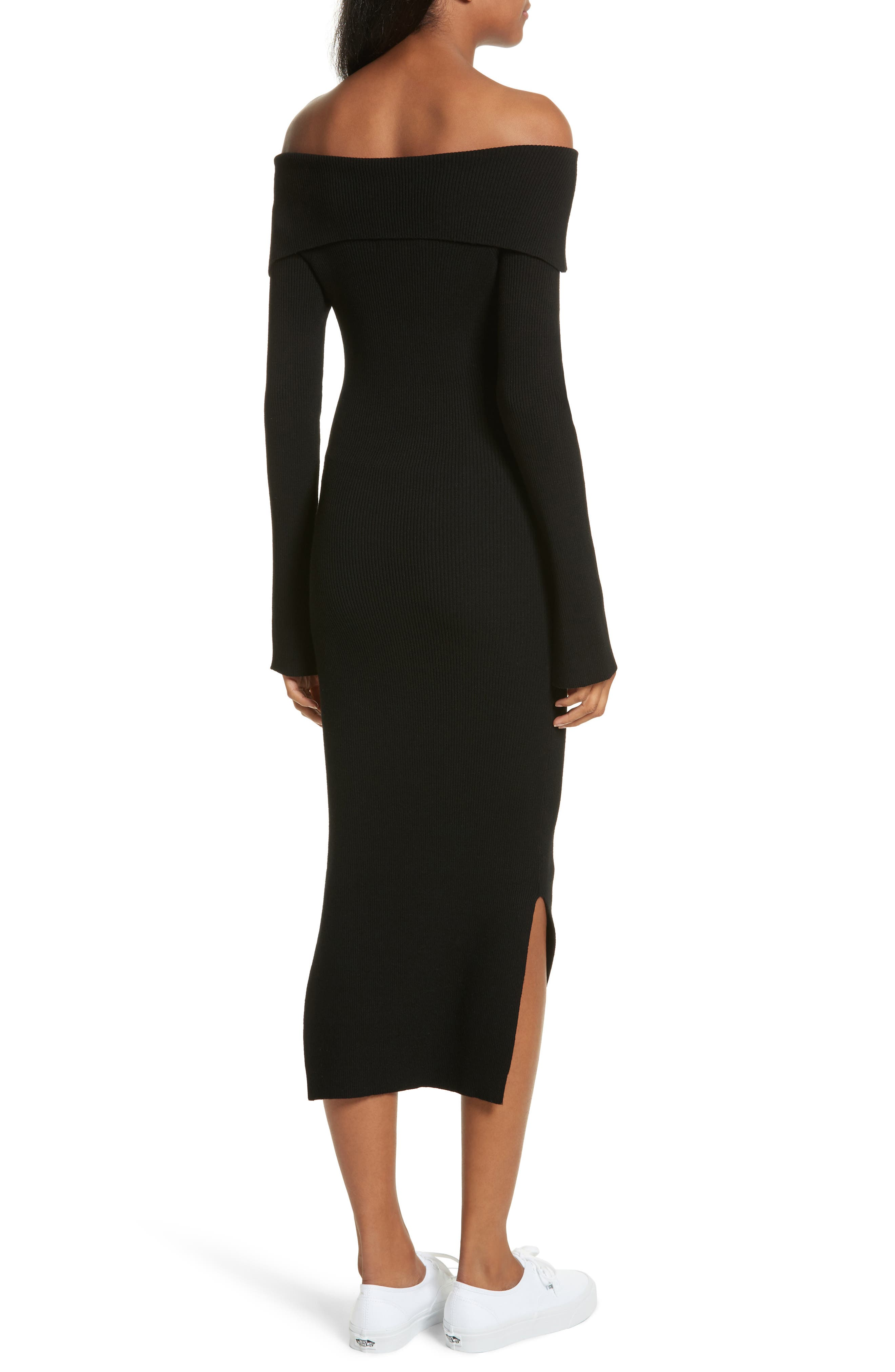 Alternate Image 2  - Milly Off the Shoulder Ribbed Maxi Dress