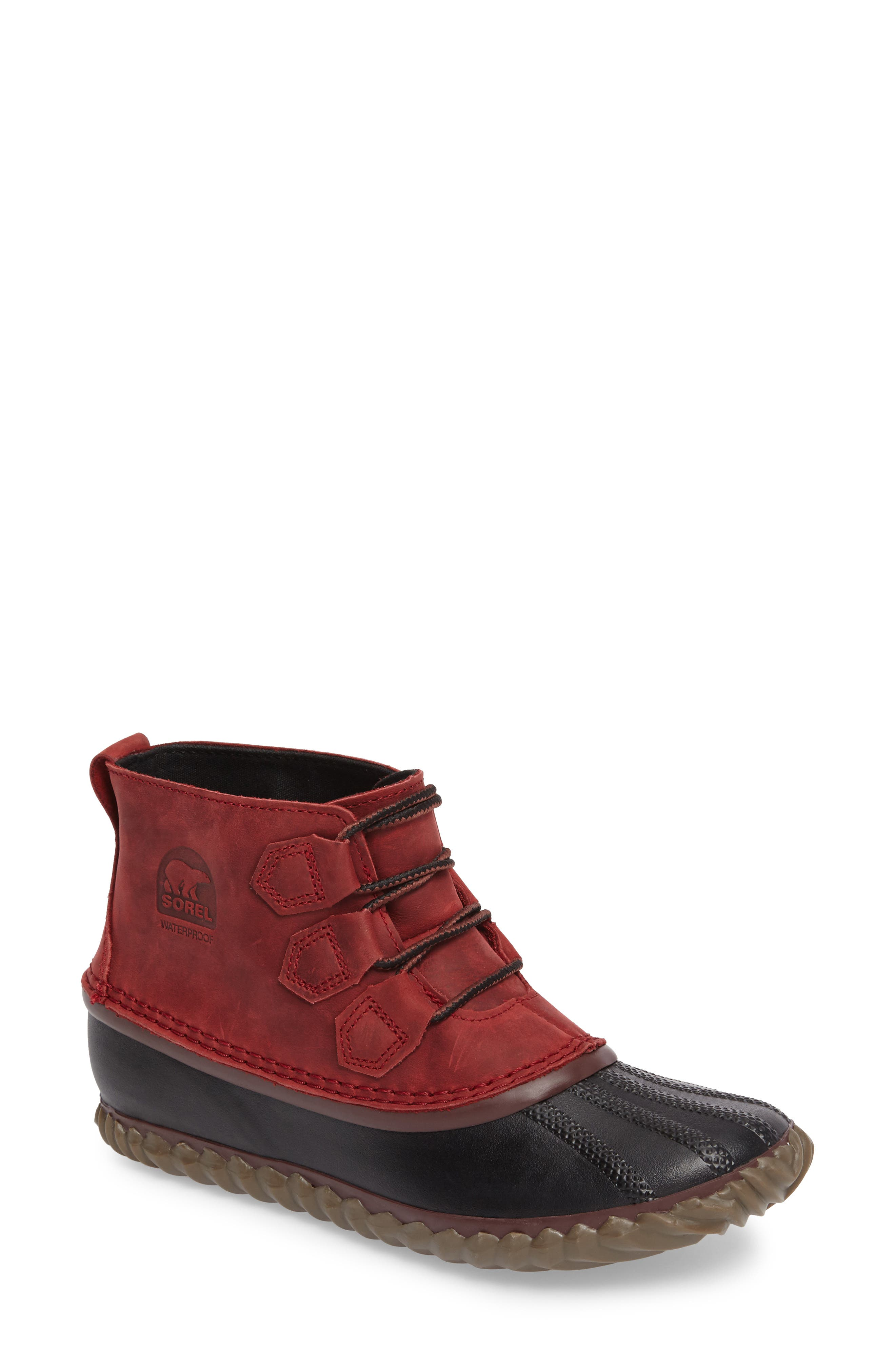 'Out N About' Leather Boot,                             Main thumbnail 1, color,                             Red Element