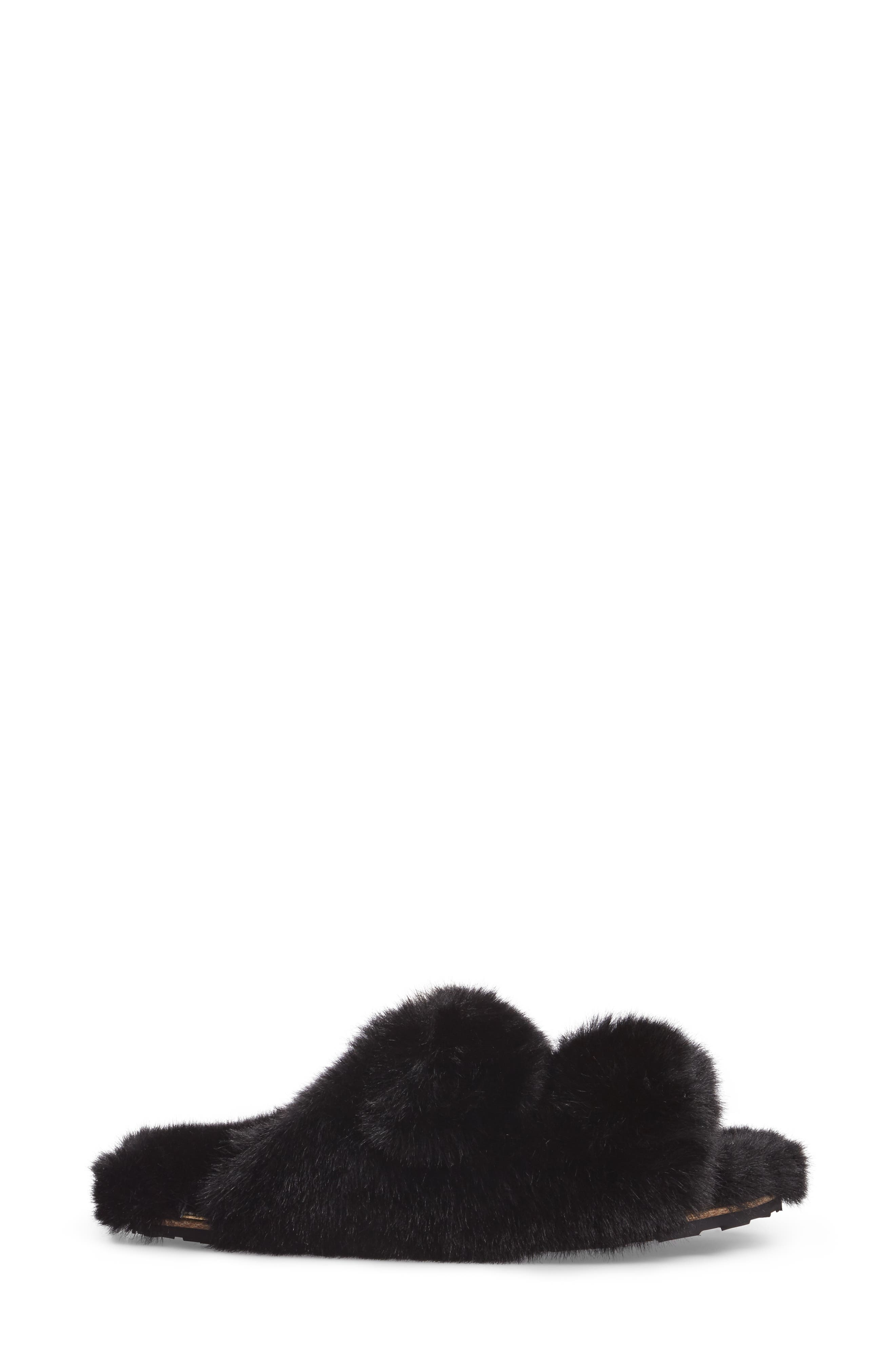Faux Fur Sandal,                             Alternate thumbnail 3, color,                             Black