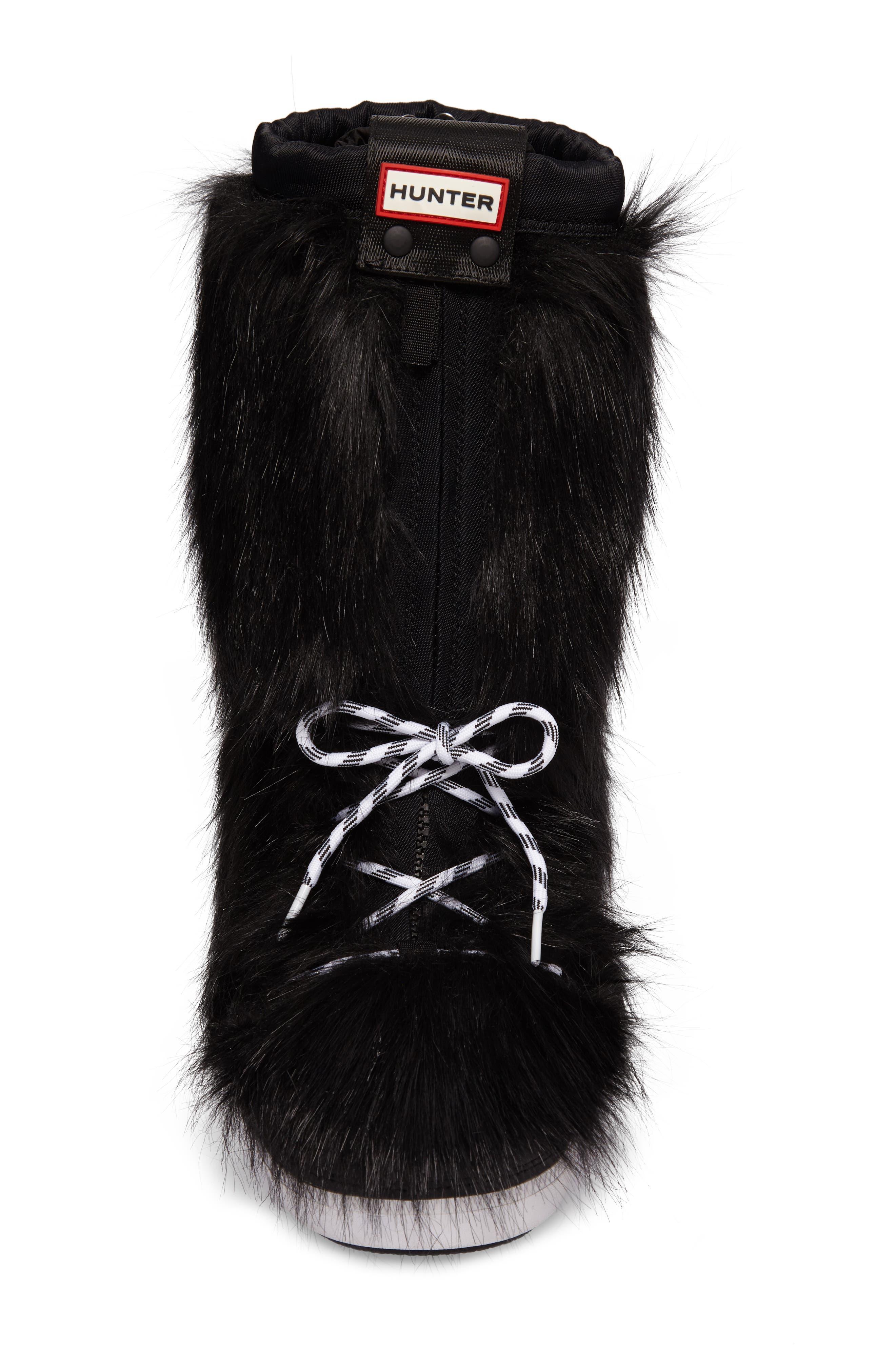 Snow Original Faux Fur Boot,                             Alternate thumbnail 4, color,                             Black