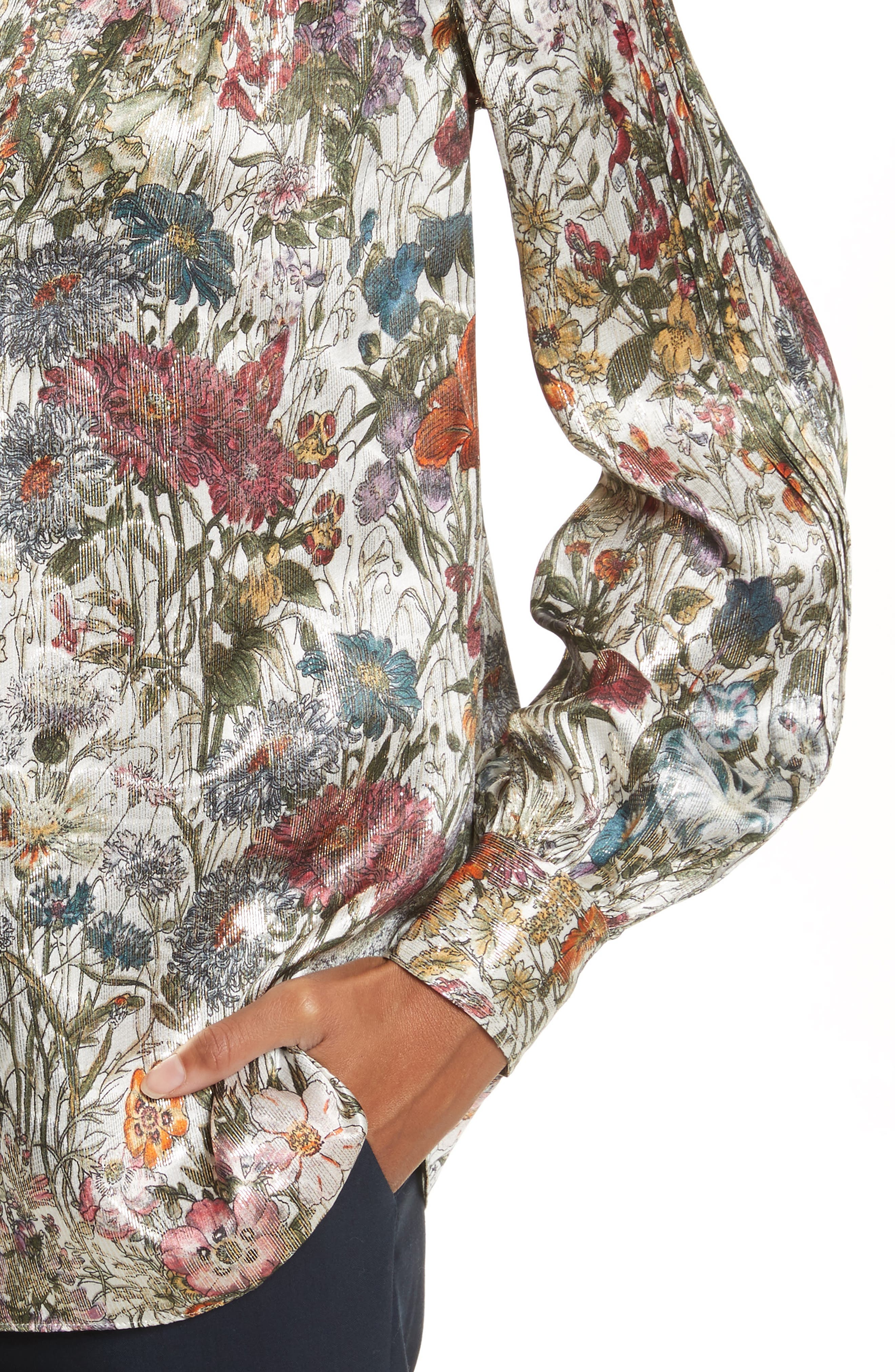 Heidi Metallic Floral Blouse,                             Alternate thumbnail 4, color,                             Melody Floral