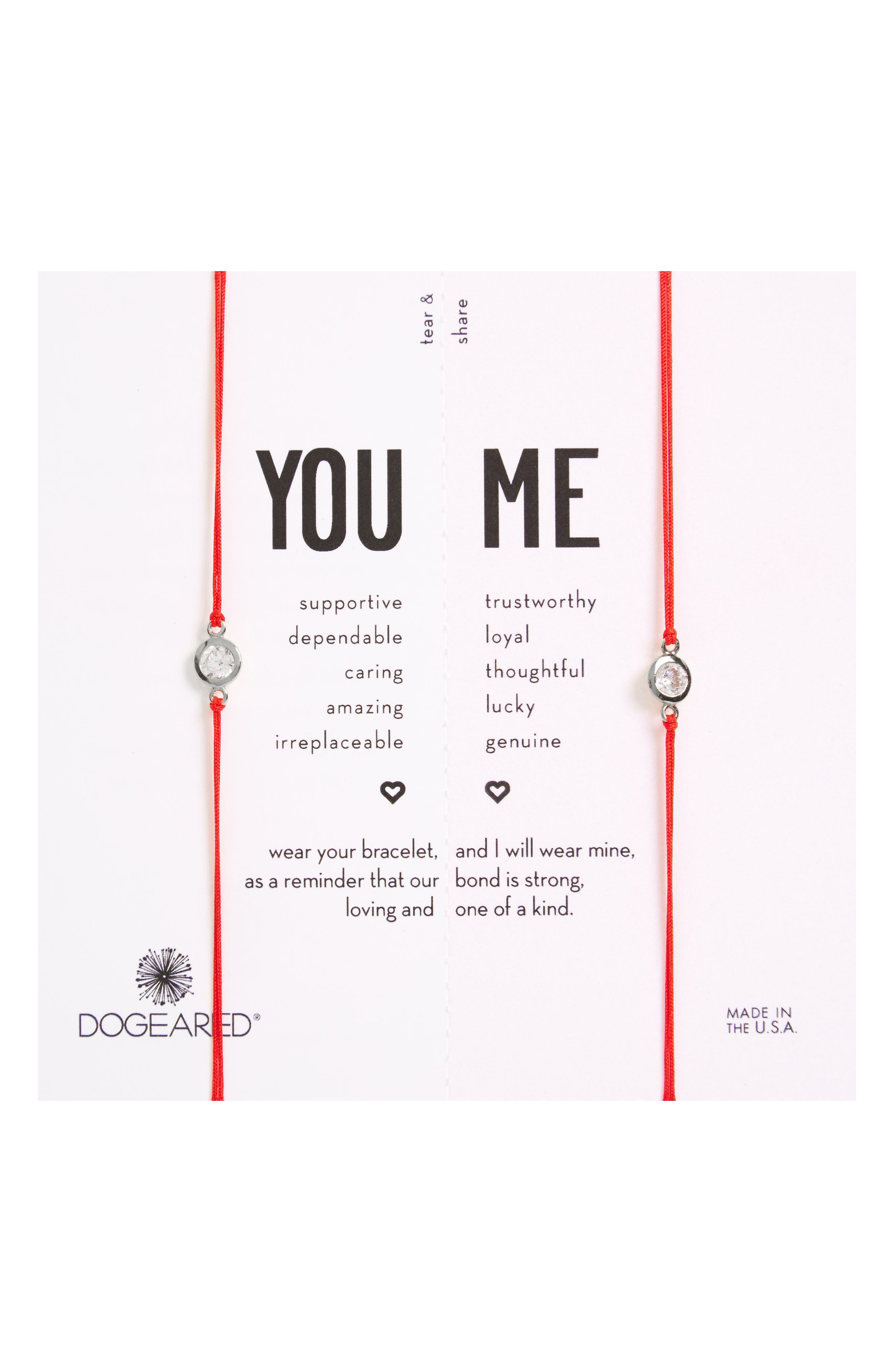 Dogeared You & Me Set of 2 Crystal Charm Friendship Bracelets