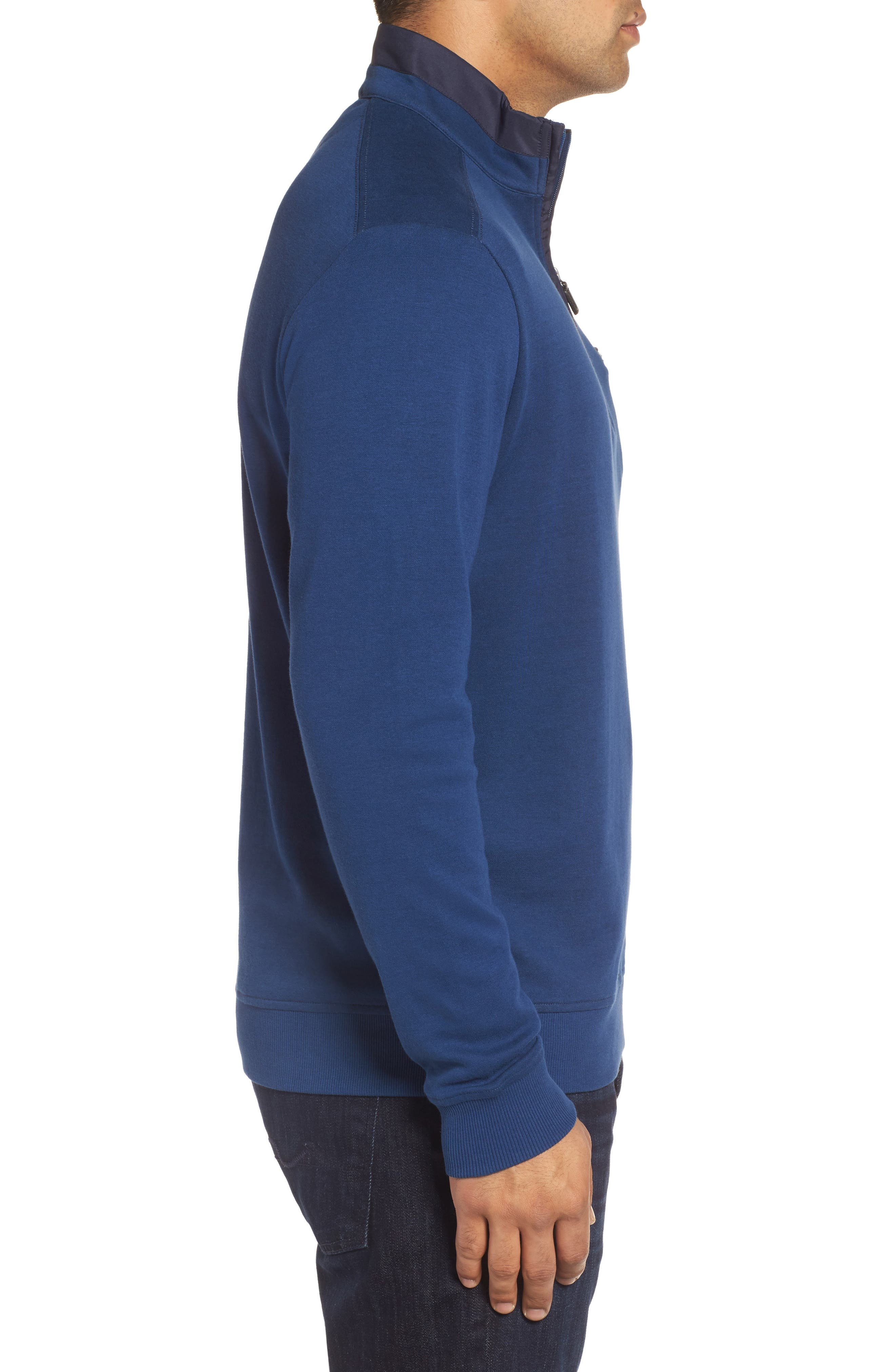 Classic Fit Solid Quarter Zip Pullover,                             Alternate thumbnail 3, color,                             Navy