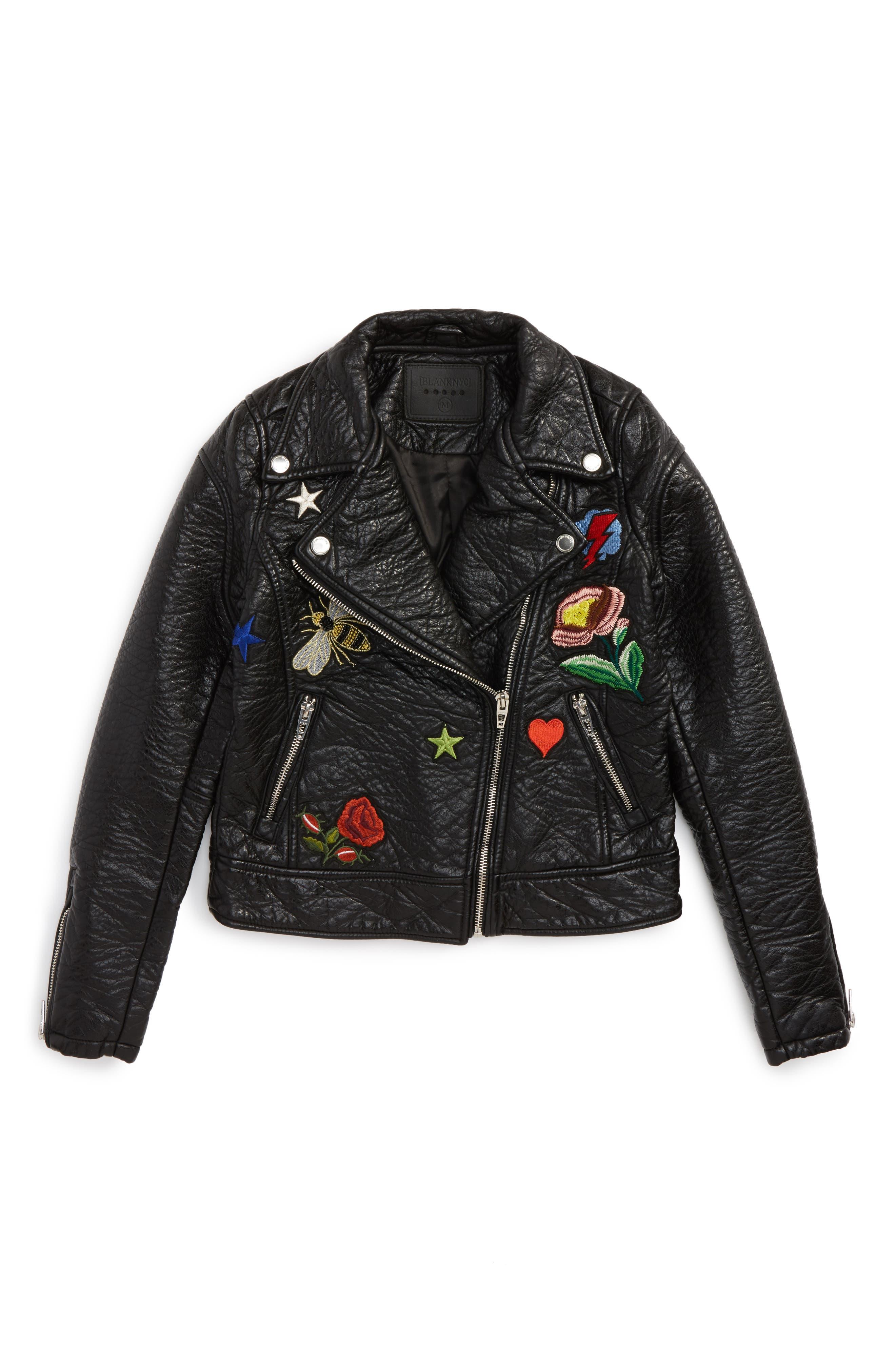 BLANCNYC Embroidered Faux Leather Moto Jacket (Big Girls)