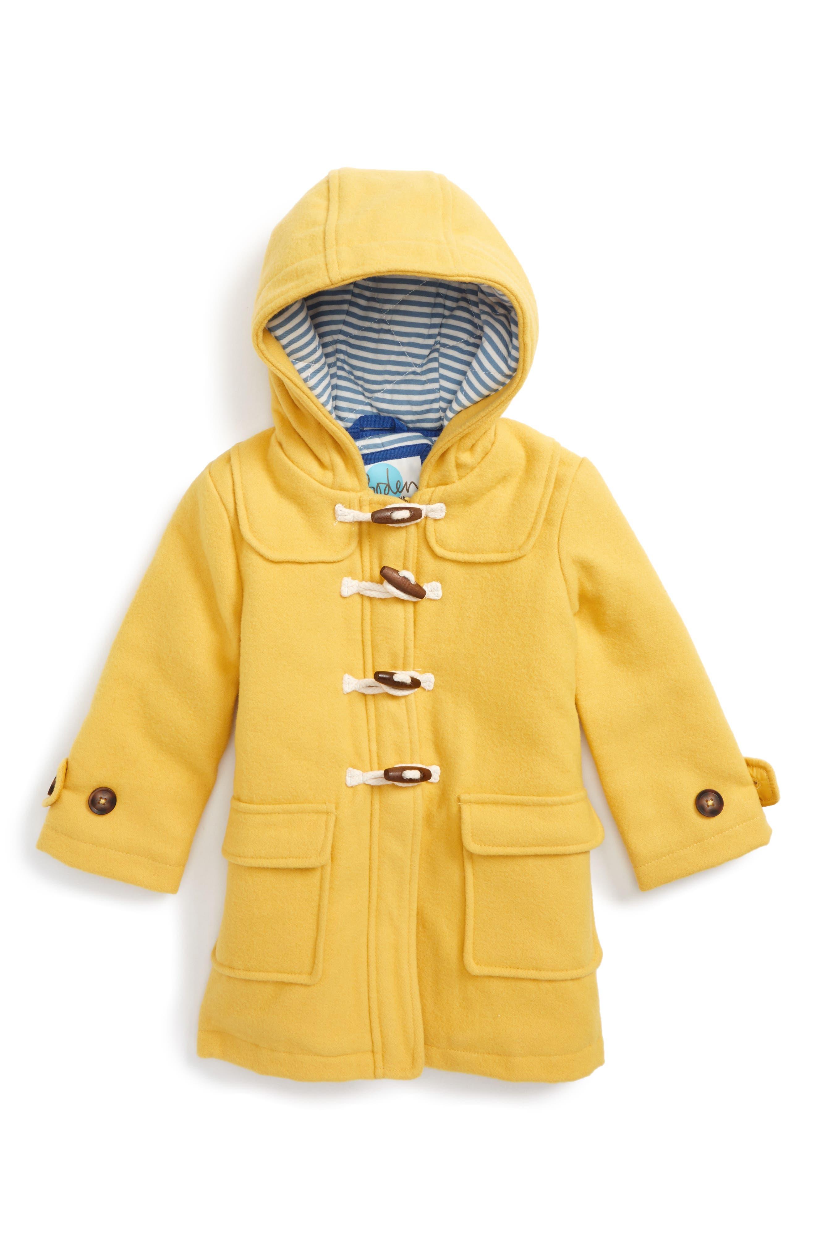 Hooded Duffle Coat,                             Main thumbnail 1, color,                             Sunshine Yellow