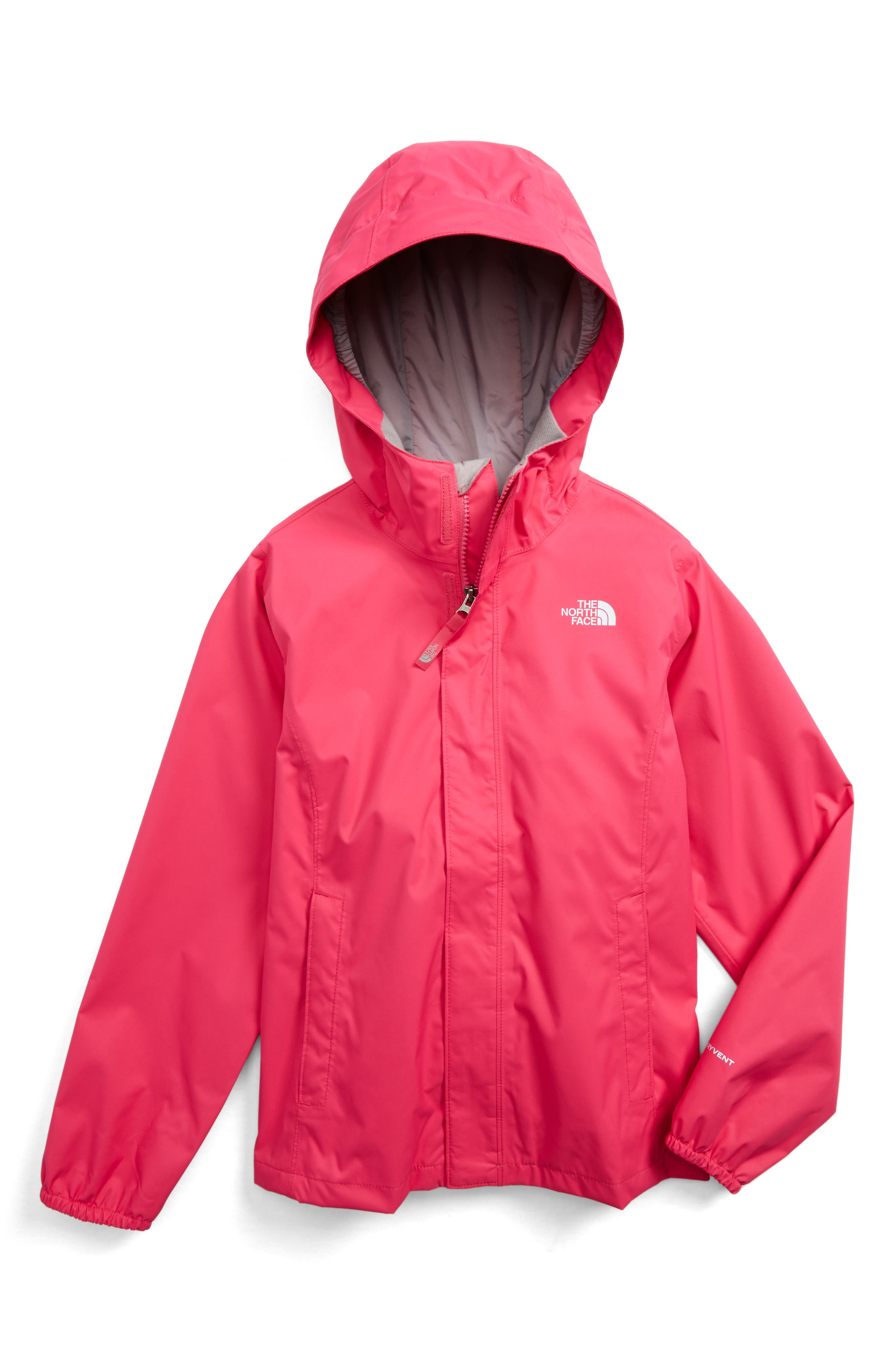 Main Image - The North Face Resolve Reflective Waterproof Hooded Jacket (Little Girls & Big Girls)