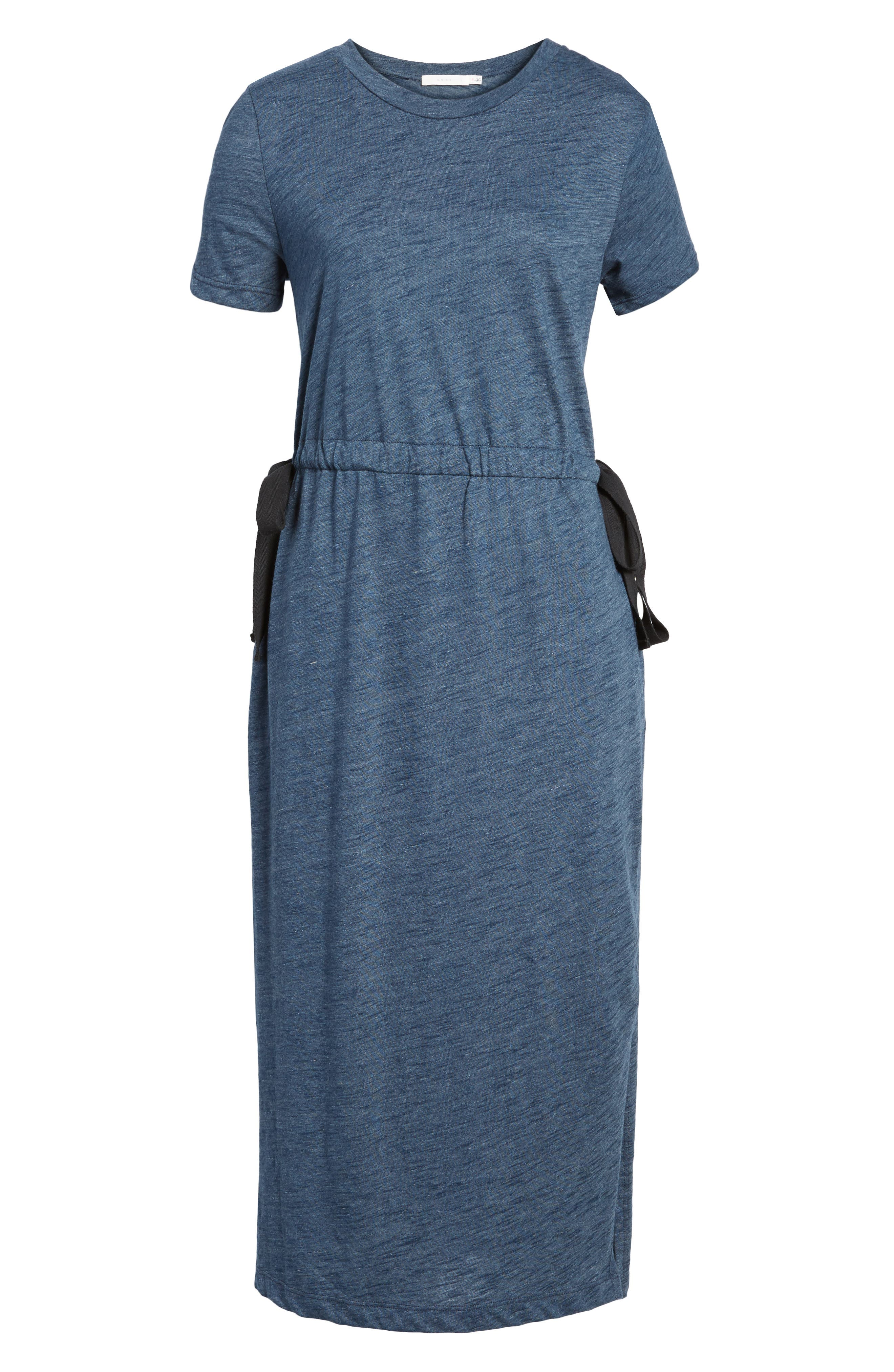 Side Tie Midi T-Shirt Dress,                             Alternate thumbnail 6, color,                             Navy Heather
