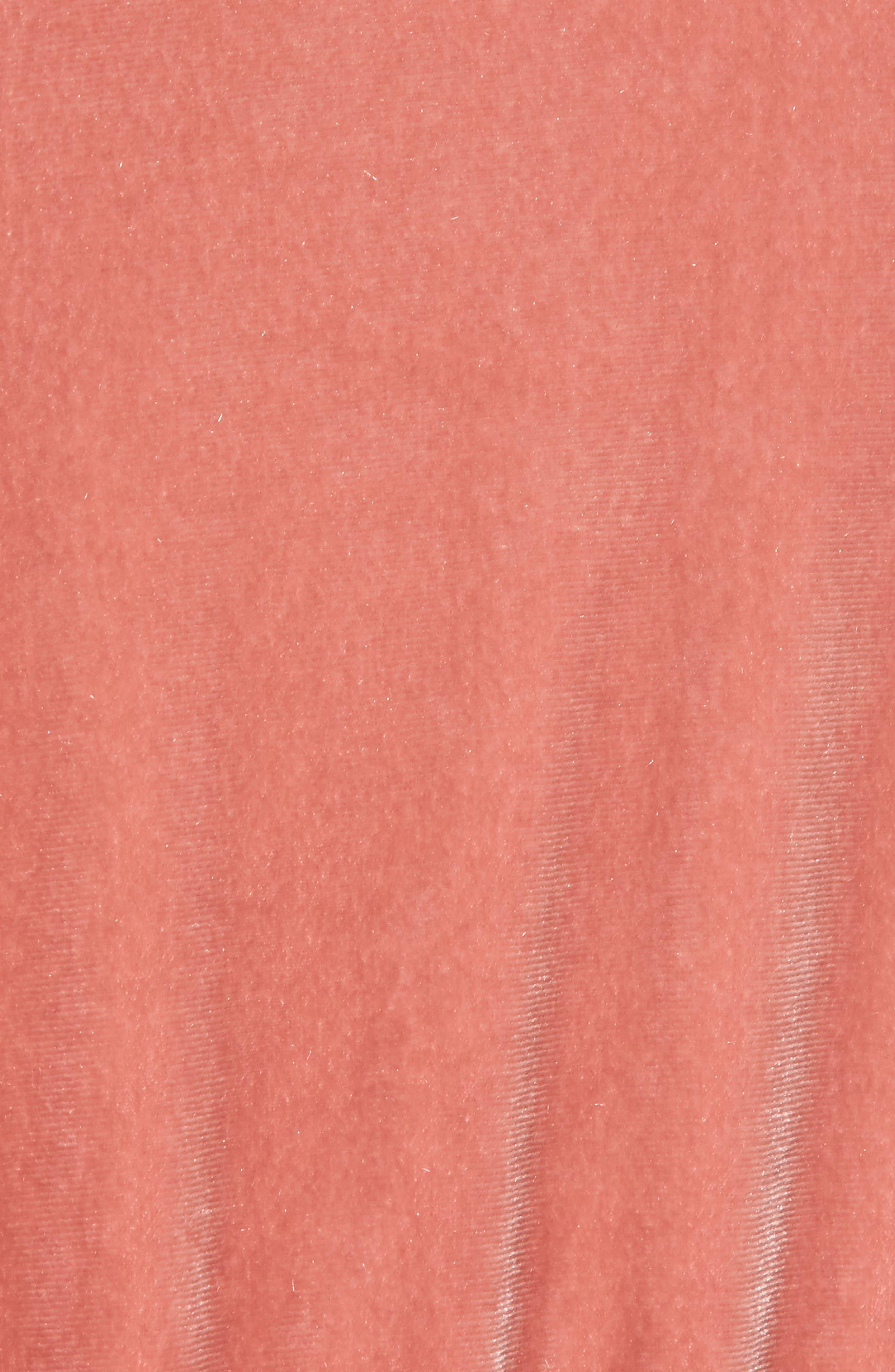 Ruffle Velour Jumpsuit,                             Alternate thumbnail 5, color,                             Coral Cedar