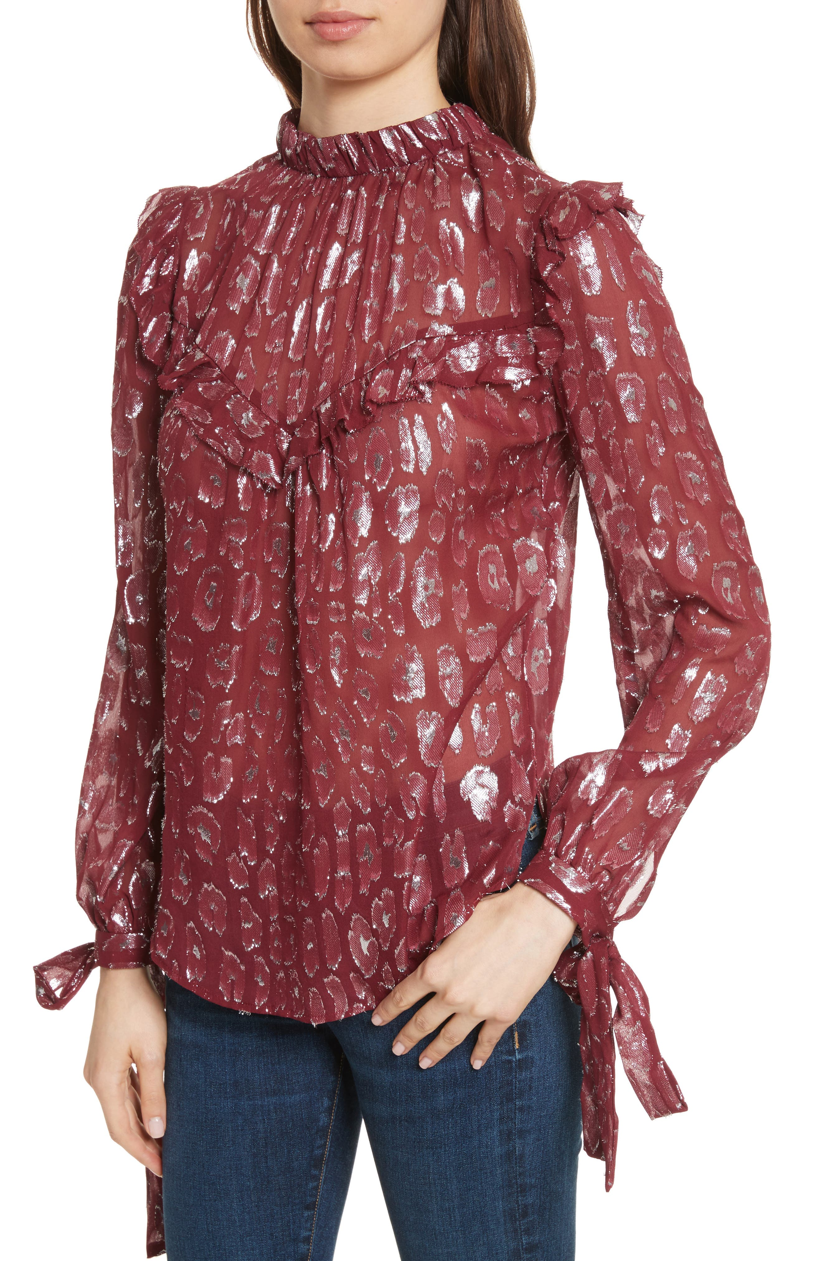 Alternate Image 3  - Veronica Beard Brooks Metallic Silk Blouse