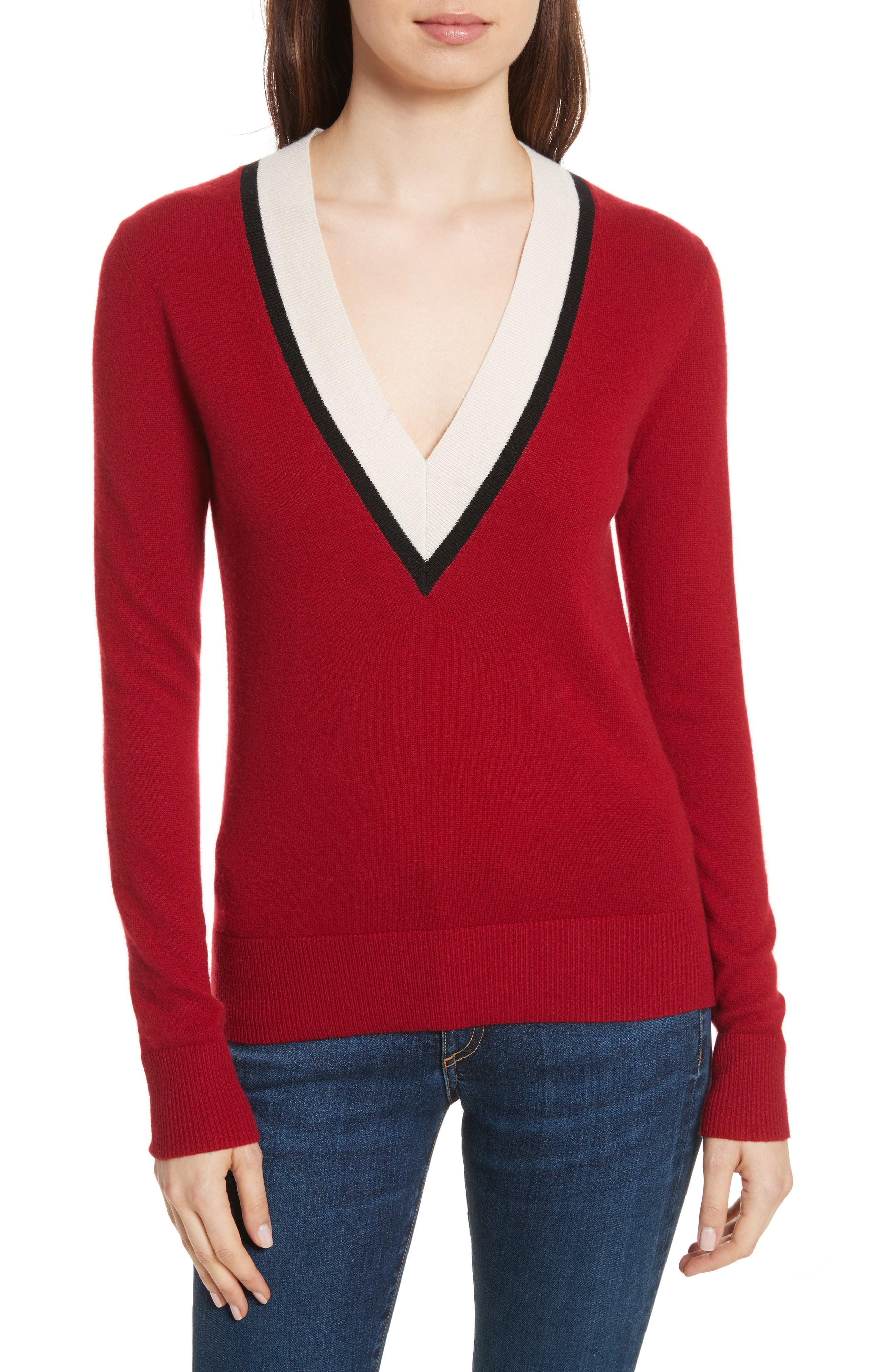 Barrett Cashmere Sweater,                         Main,                         color, Red/ Ivory/ Black