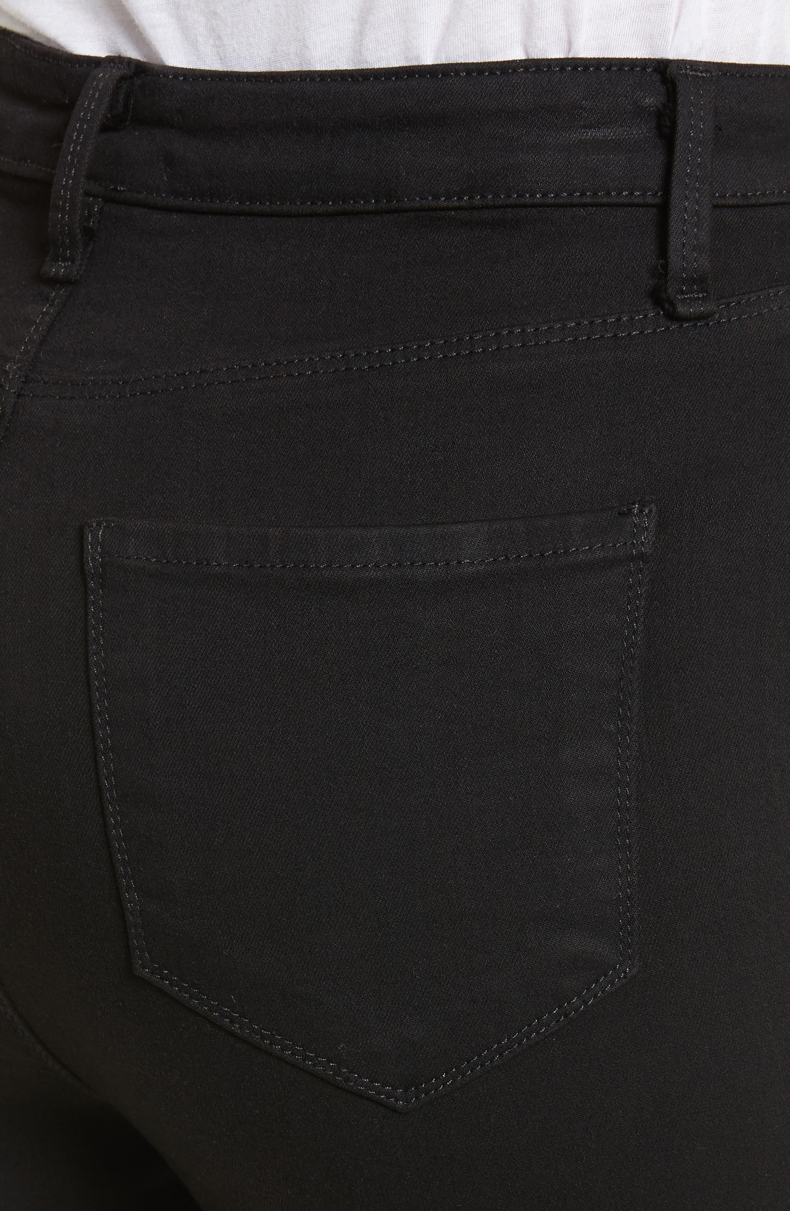 Katrina Ultra High Waist Skinny Jeans,                             Alternate thumbnail 4, color,                             Noir