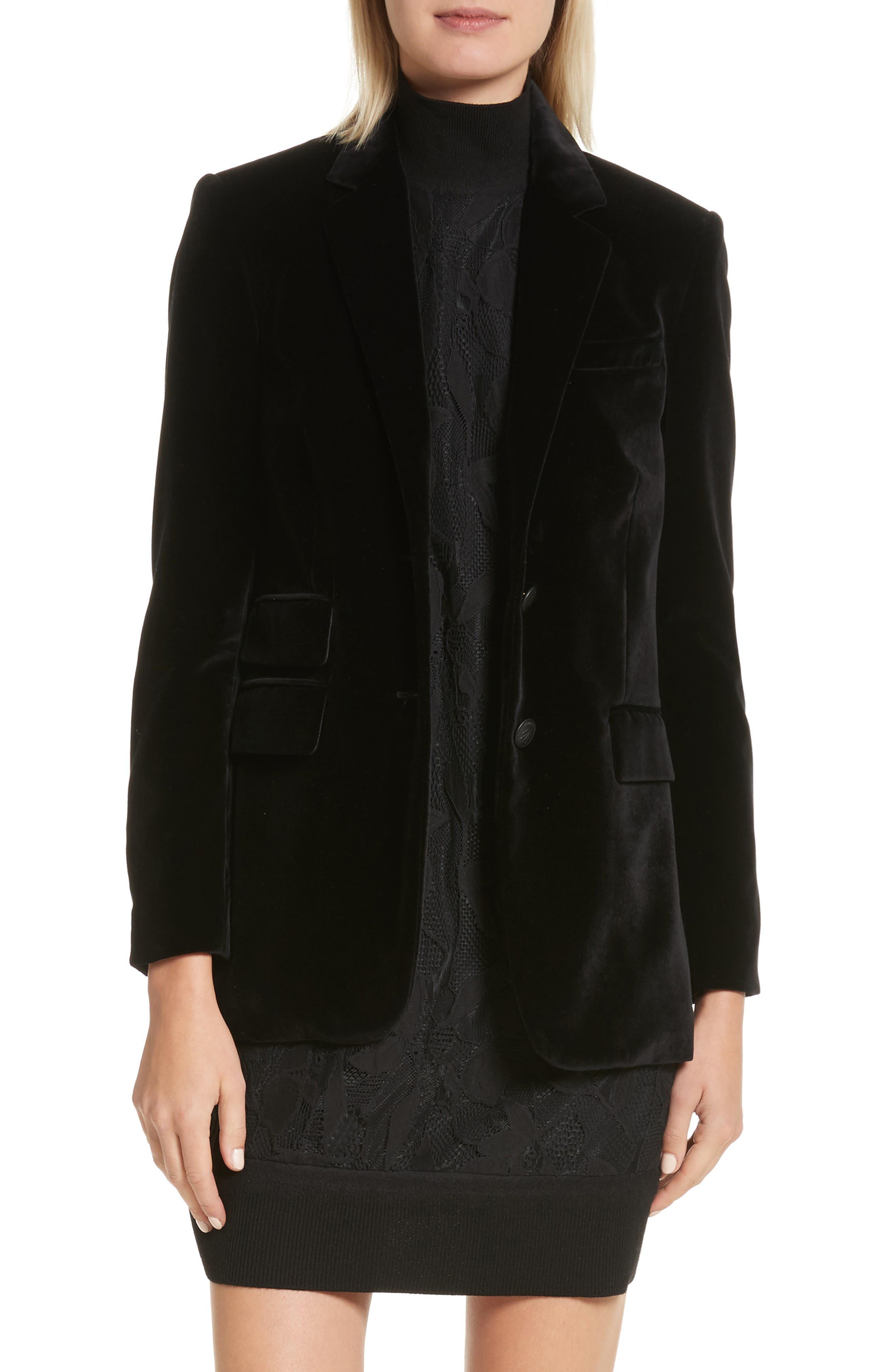Rona Velvet Blazer,                         Main,                         color, Black