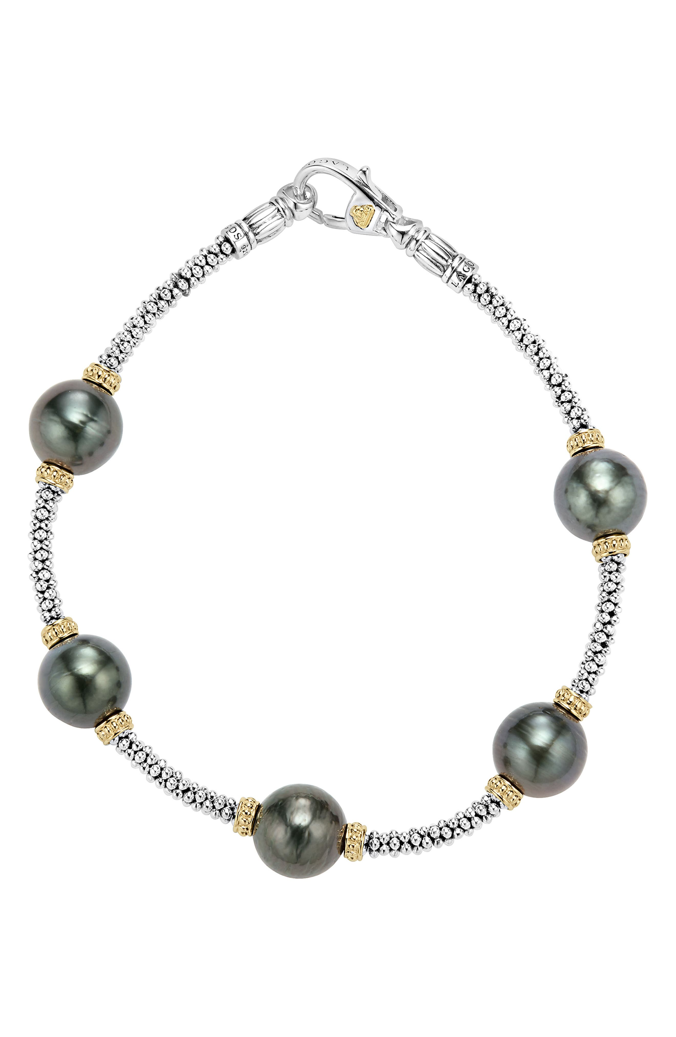 Luna Pearl Rope Bracelet,                             Alternate thumbnail 2, color,                             Black Pearl