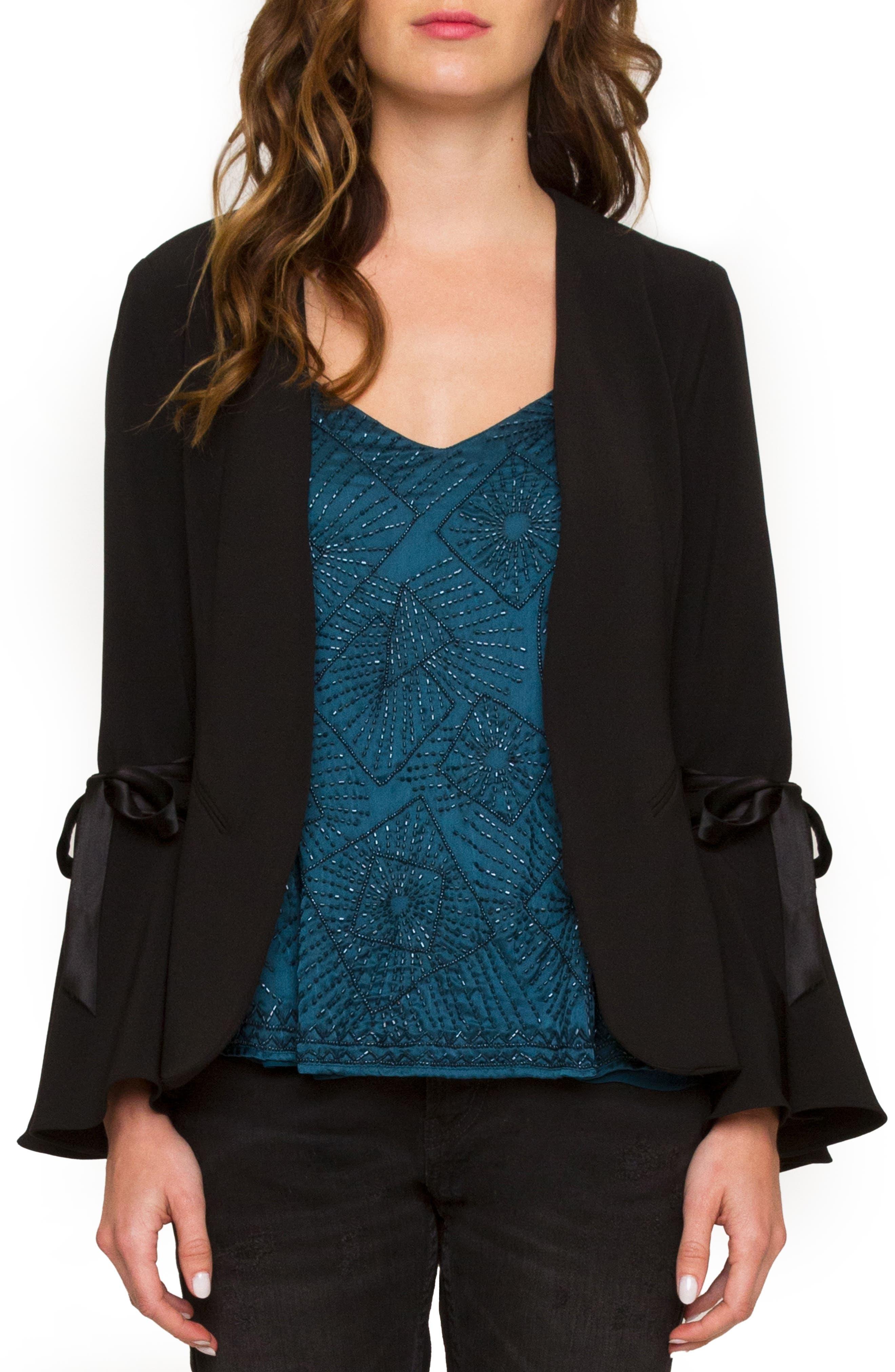 Tie Sleeve Jacket,                             Main thumbnail 1, color,                             Black