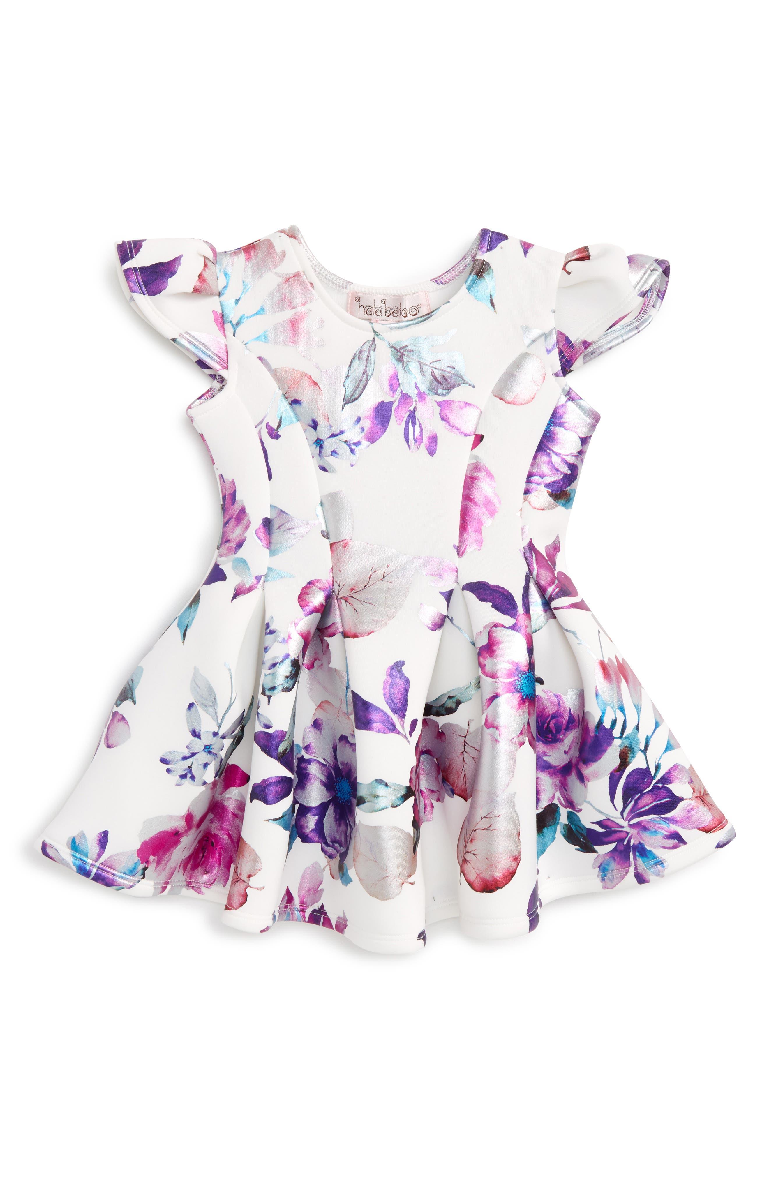 Floral Print Scuba Dress,                             Main thumbnail 1, color,                             Purple