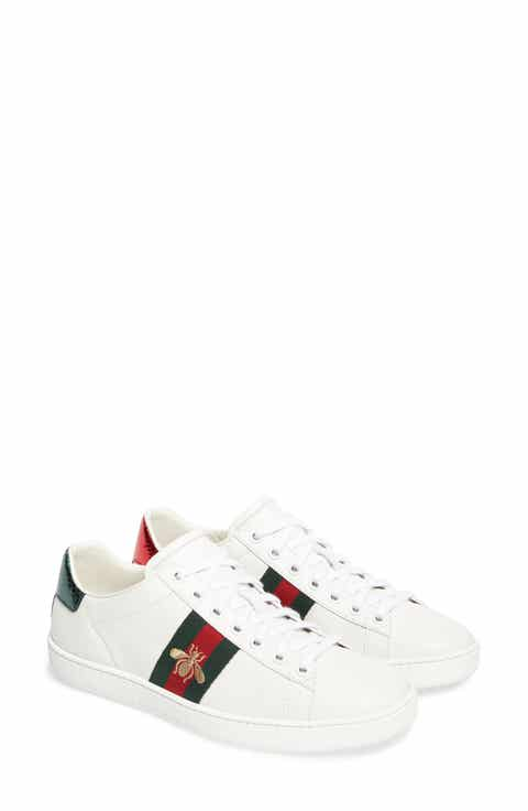 d0c21258b7f Gucci Floral Print Metallic Leather Skate Sneakers t