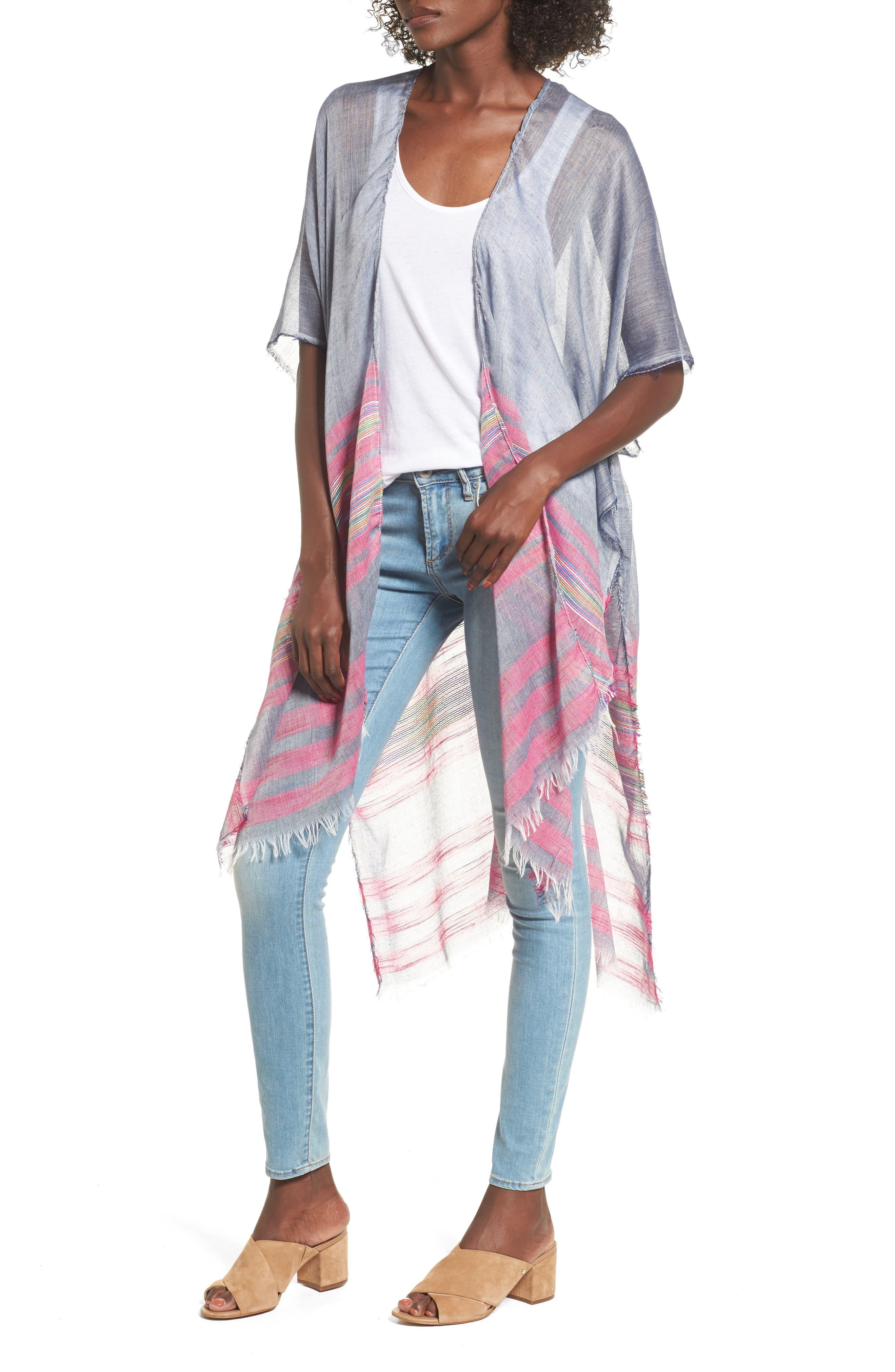 Sole Society Mixed Stripe Chambray Kimono Scarf