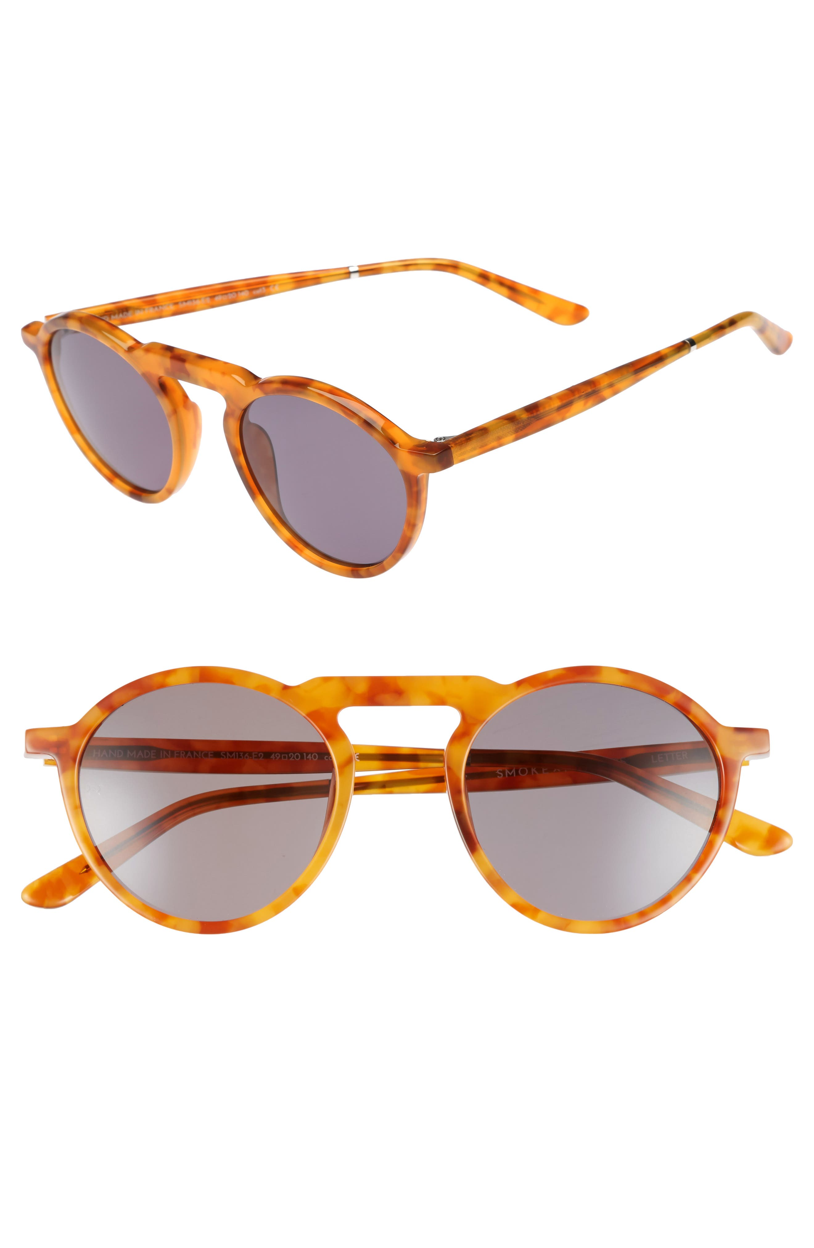 Letter 49mm Round Sunglasses,                         Main,                         color, Ginger Tortoise/ Grey