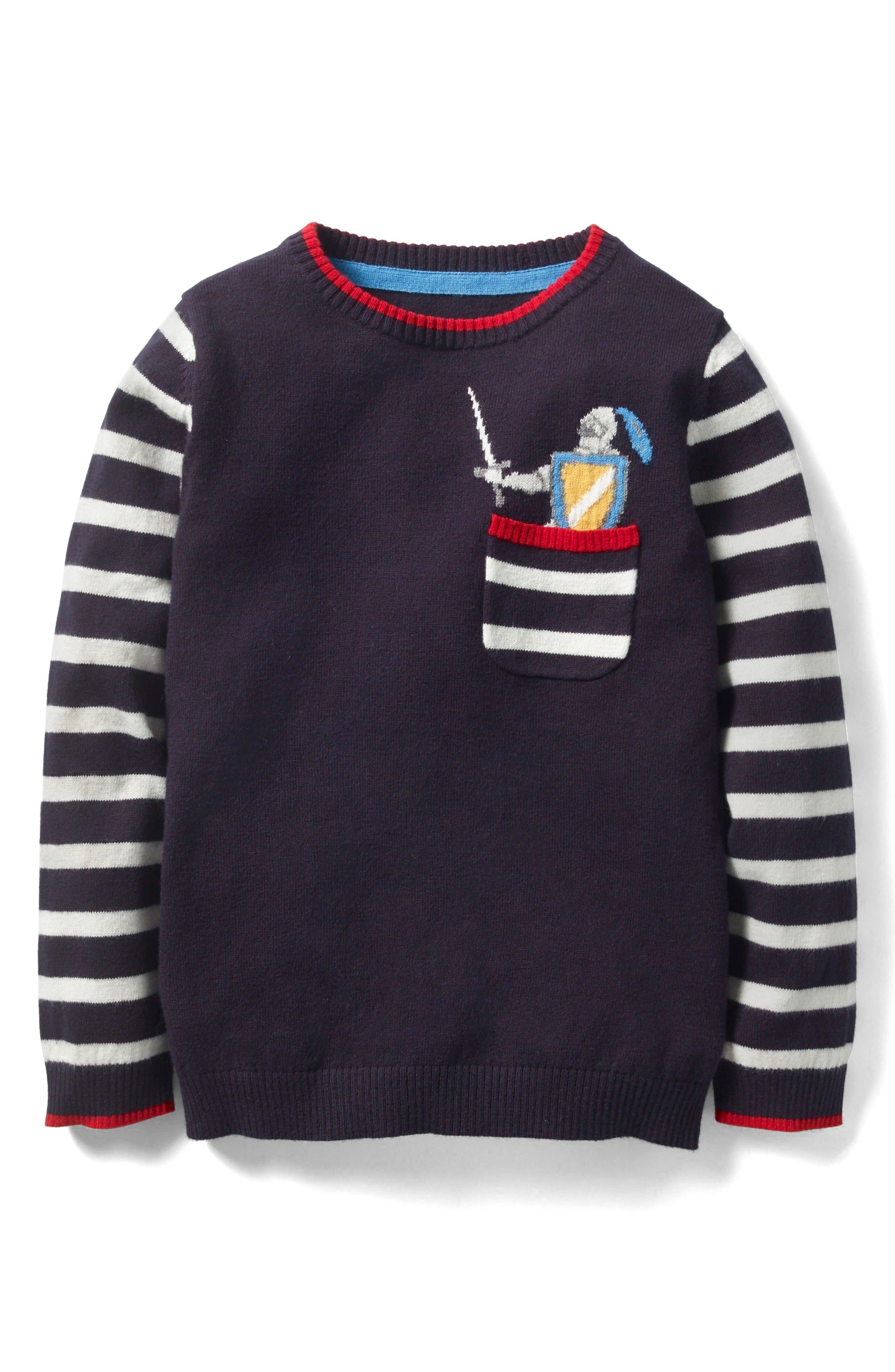 Mini Boden Pocket Cotton & Cashmere Sweater (Toddler Boys, Little Boys & Big Boys)