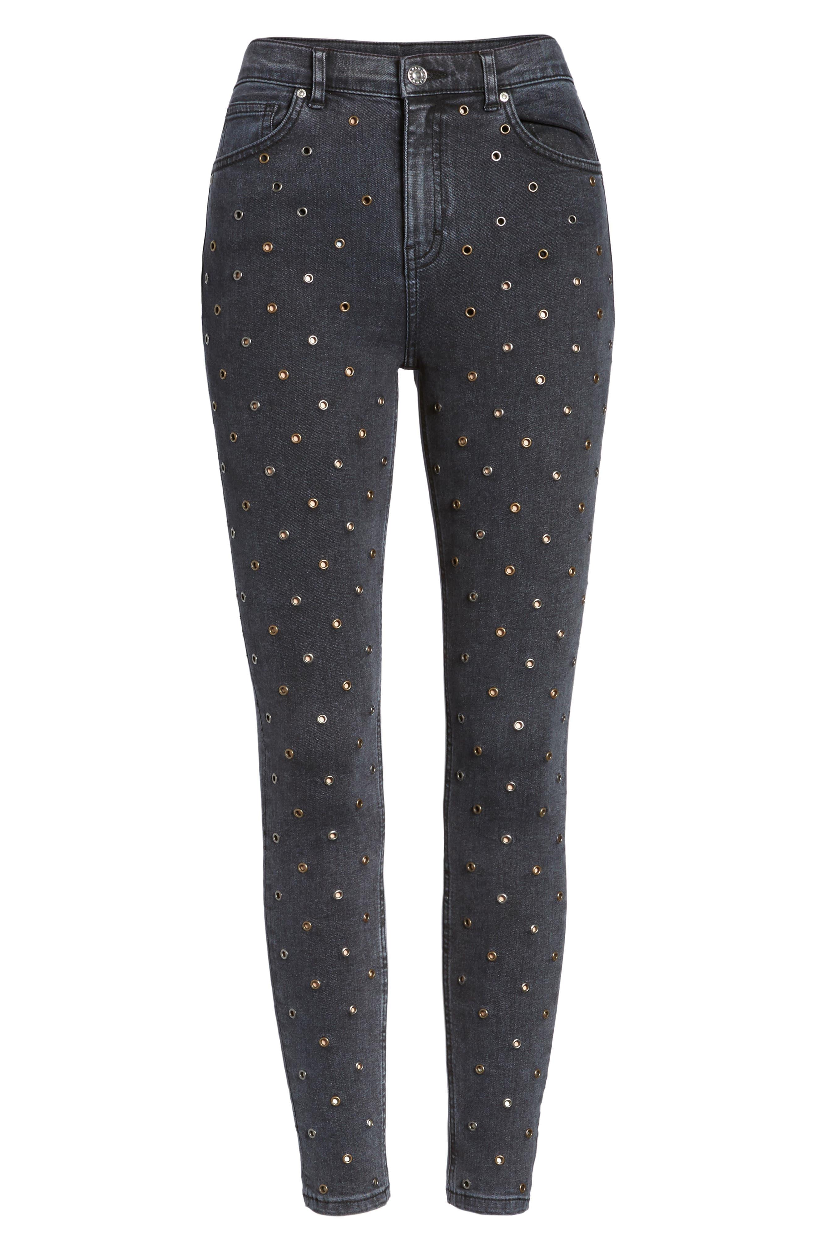 Jamie Grommet Ankle Skinny Jeans,                             Alternate thumbnail 7, color,                             Washed Black