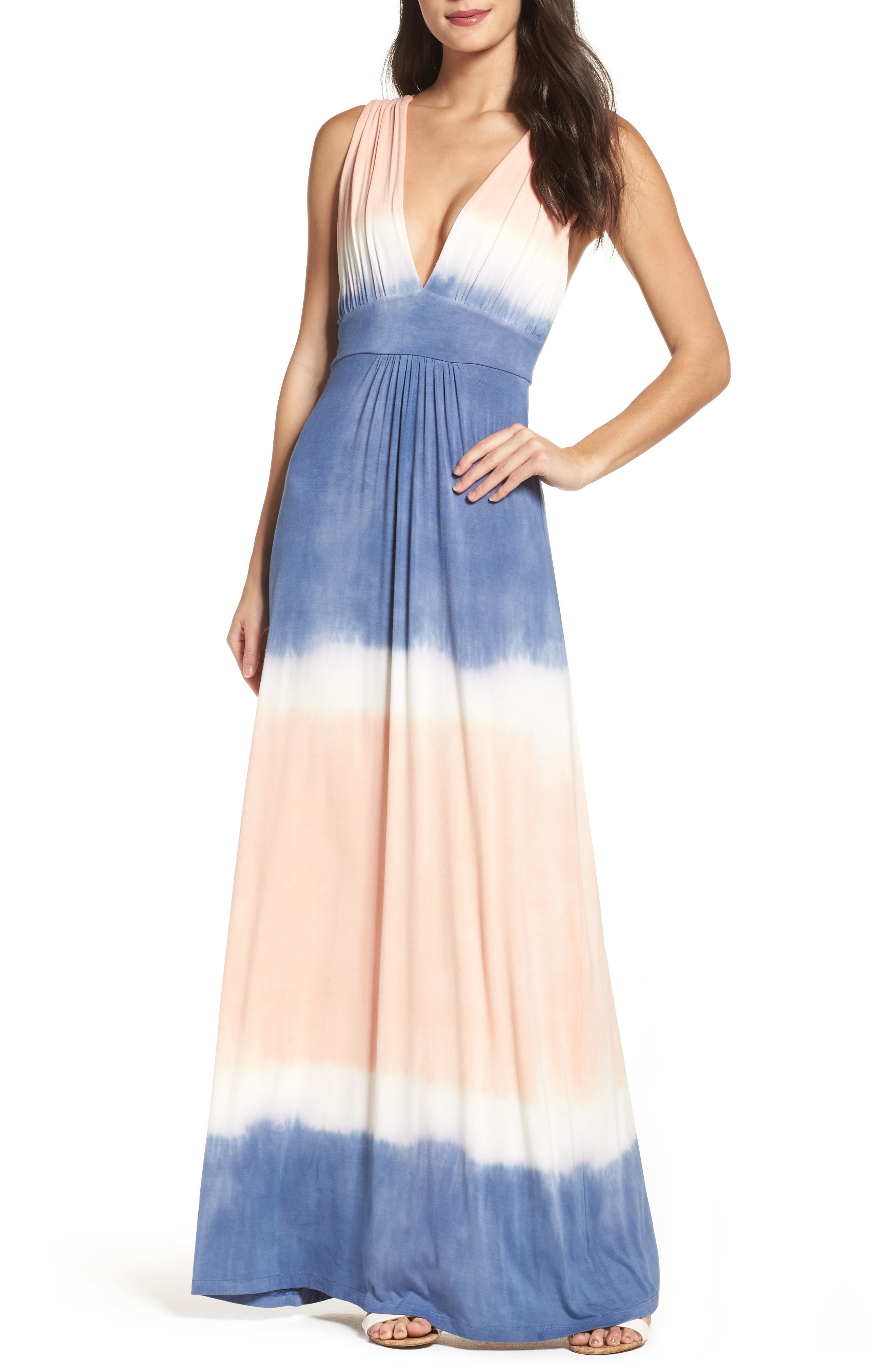 Tie Dye Sleeveless Maxi Dress,                         Main,                         color, Blue/ White