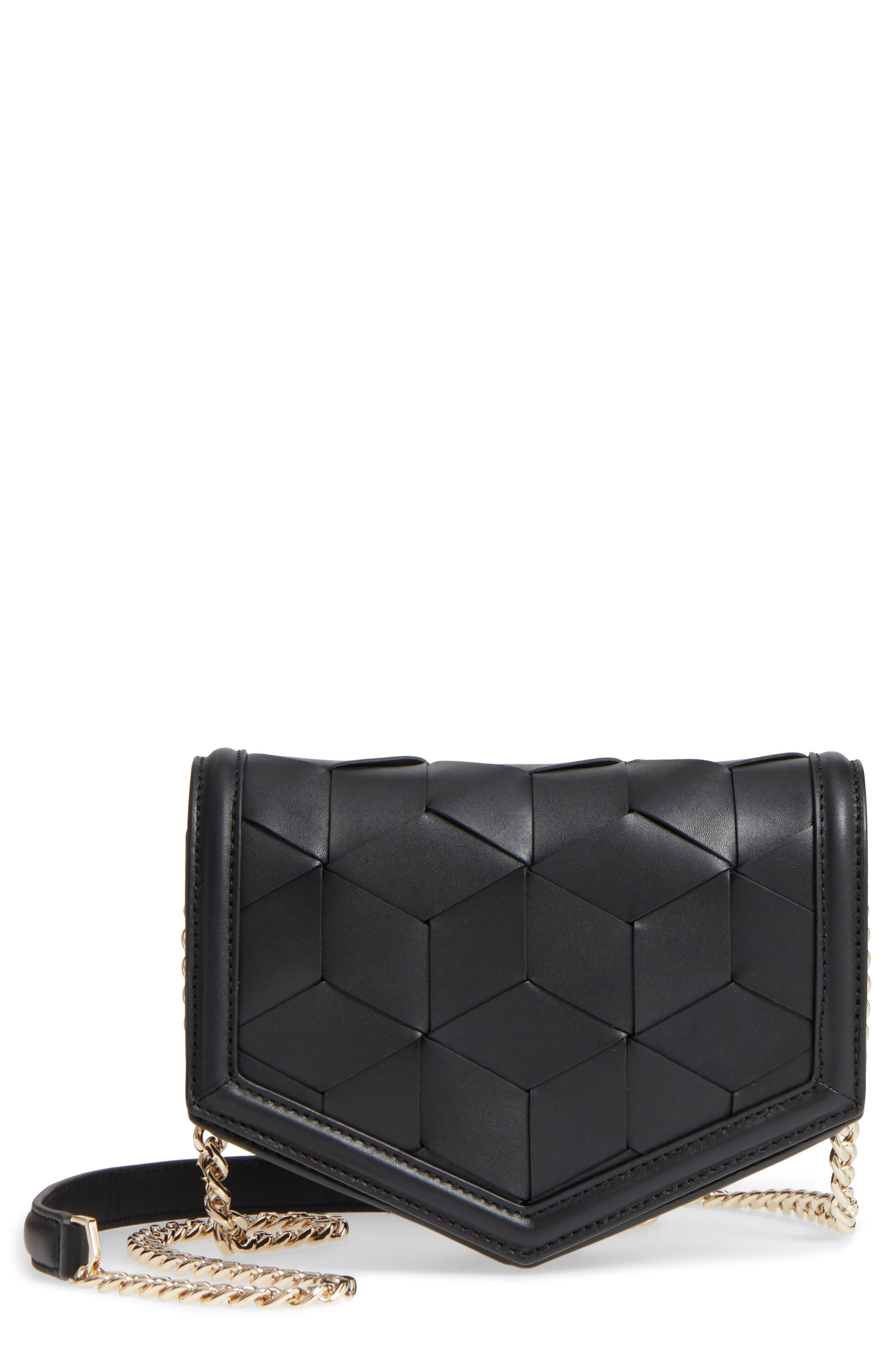Jaunt Woven Calfskin Leather Wallet on a Chain,                         Main,                         color, Black