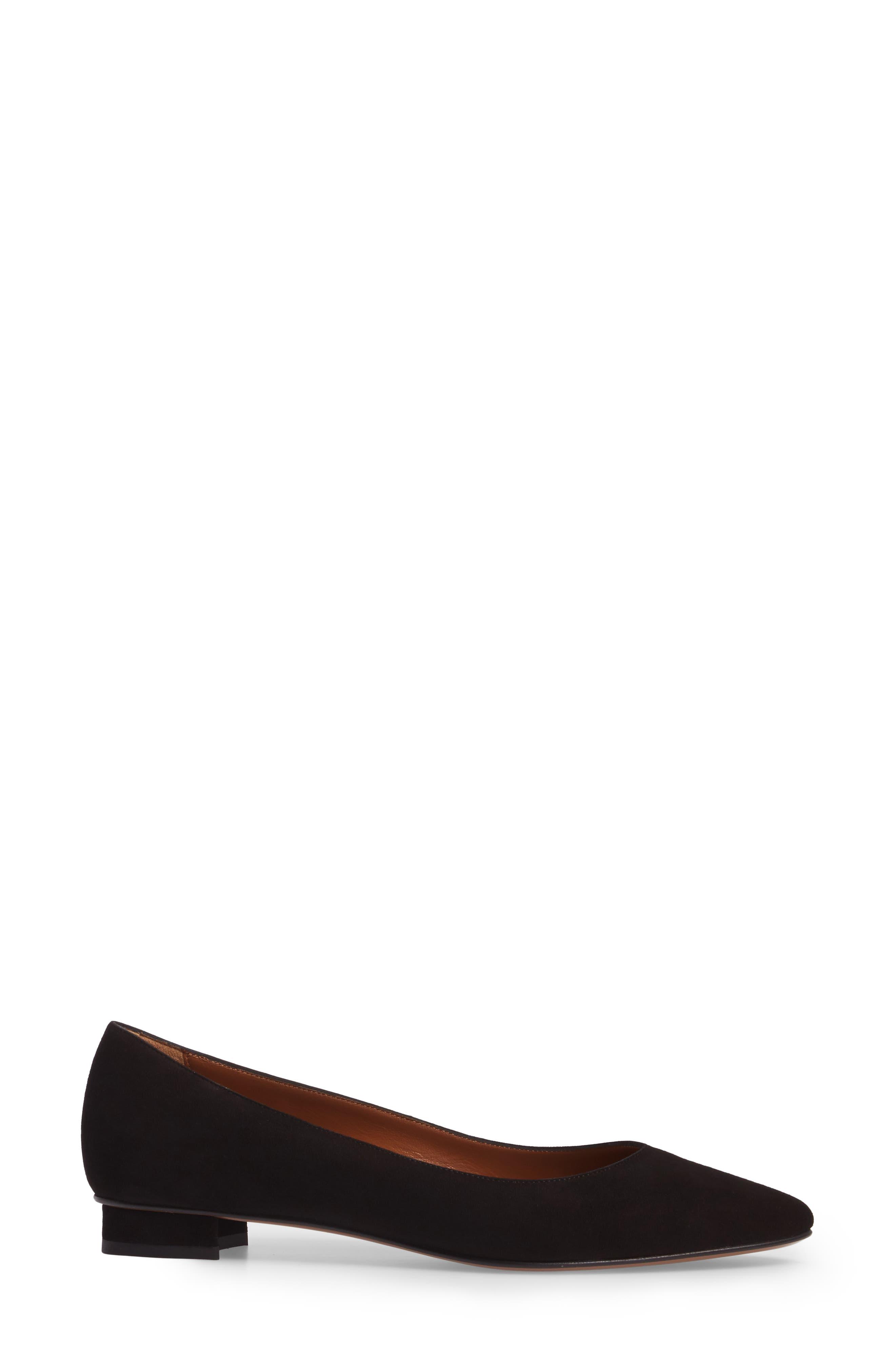 Perla Weatherproof Ballerina Shoe,                             Alternate thumbnail 3, color,                             Black Suede