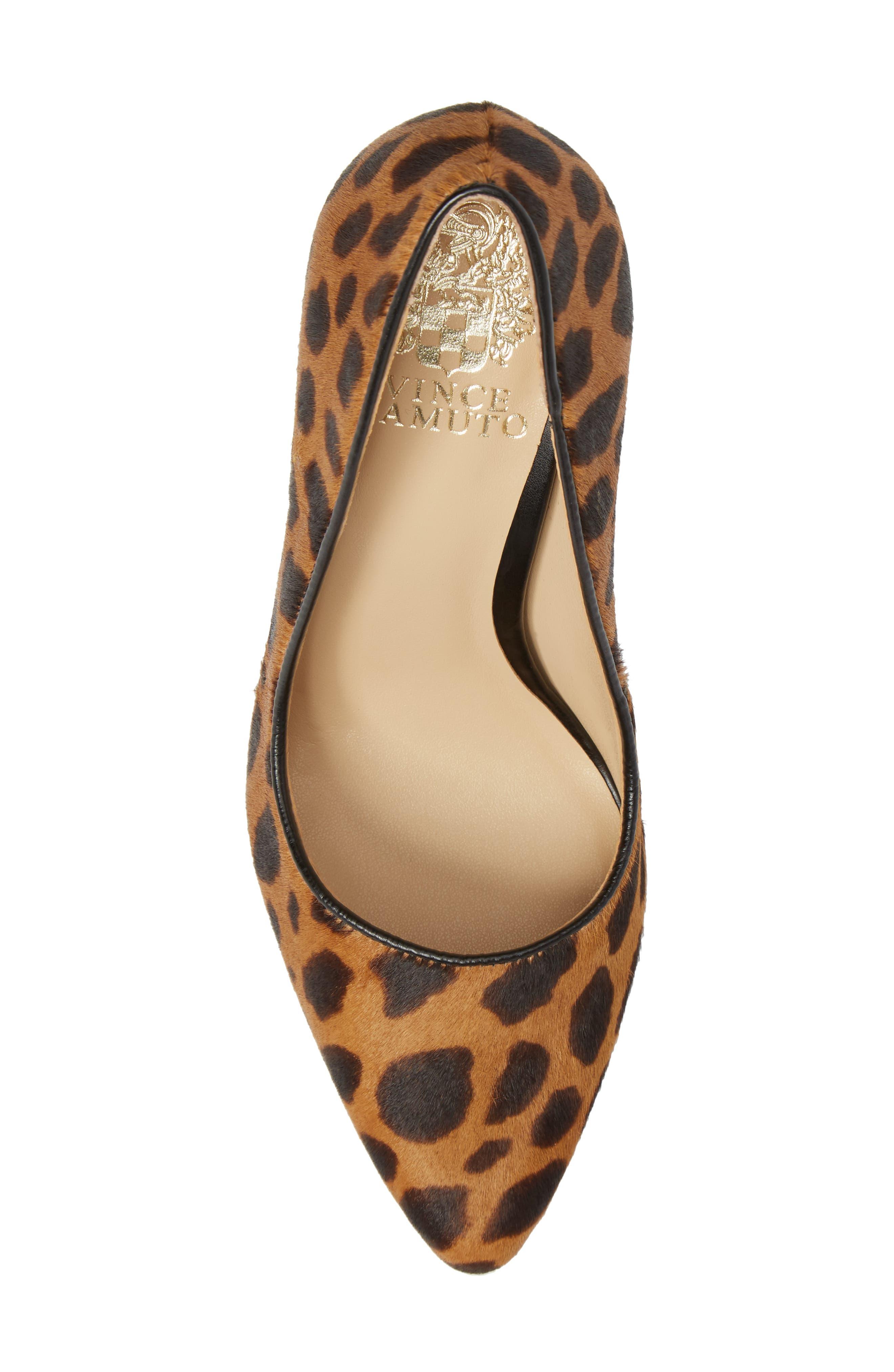 Talise Genuine Calf Hair Pointy Toe Pump,                             Alternate thumbnail 4, color,                             Leopard Brown