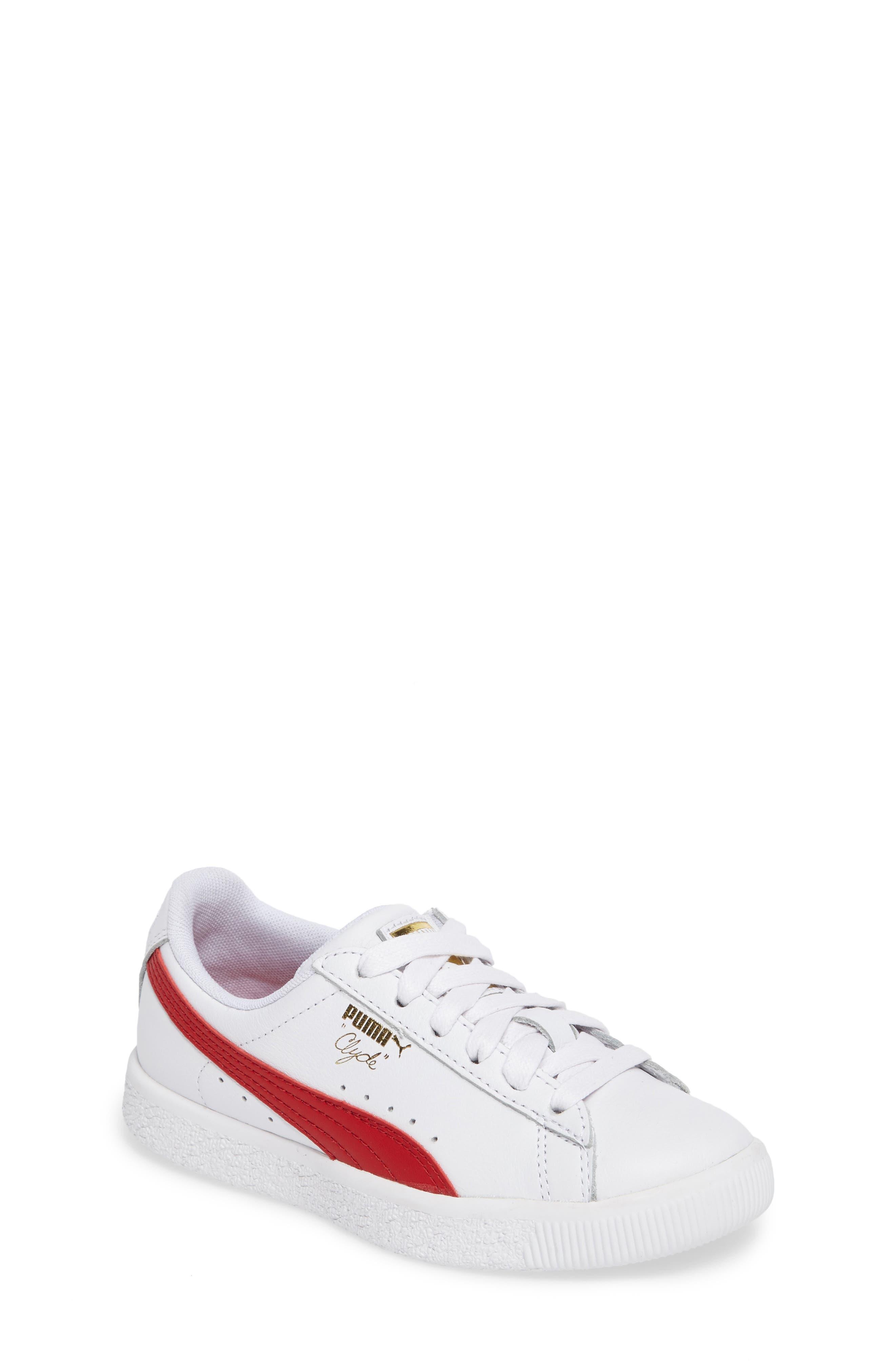 Clyde Core Foil Sneaker,                         Main,                         color, White/ Cherry
