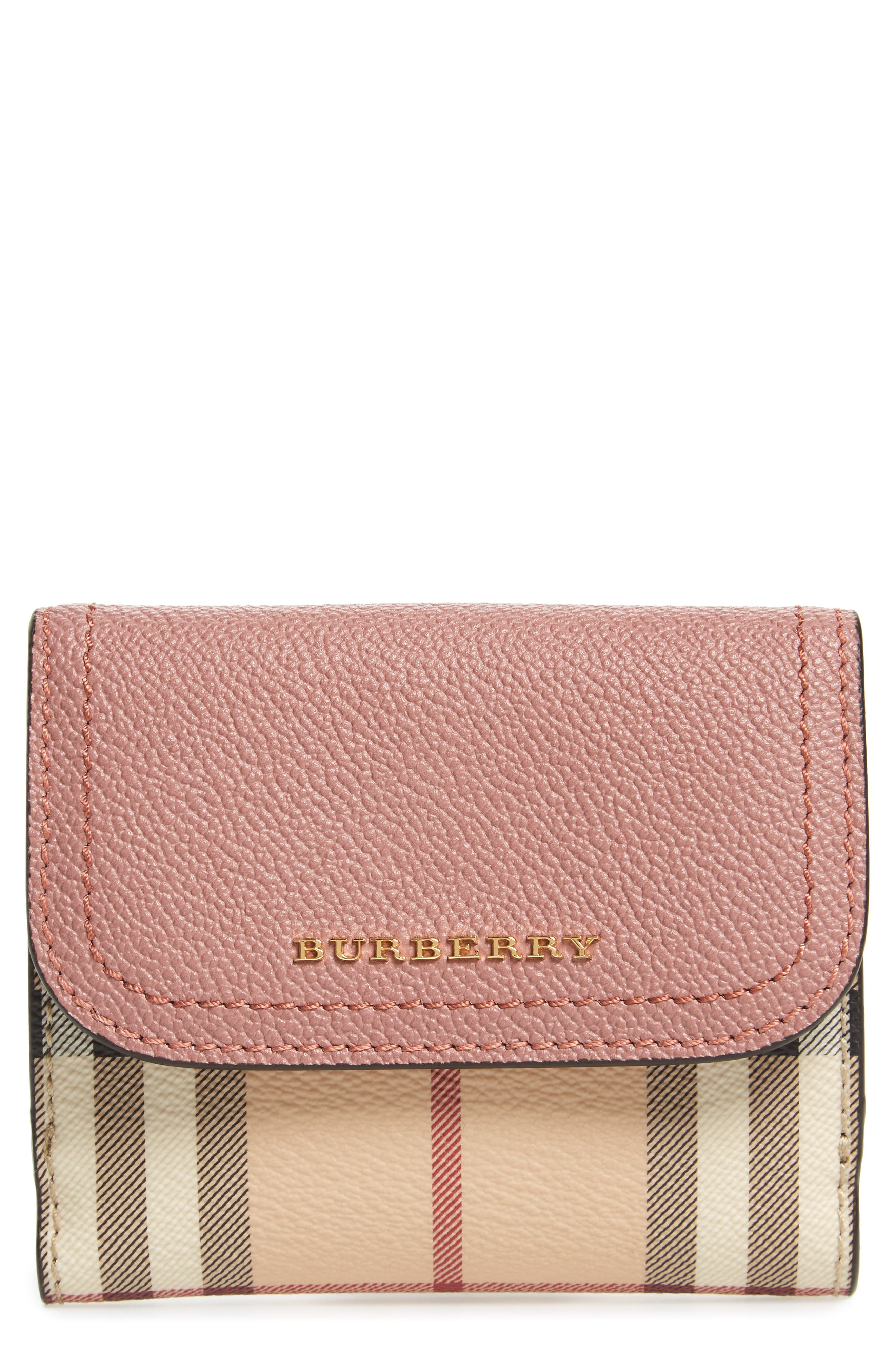Luna French Haymarket Check Wallet,                             Main thumbnail 1, color,                             Dusty Pink/ Multi