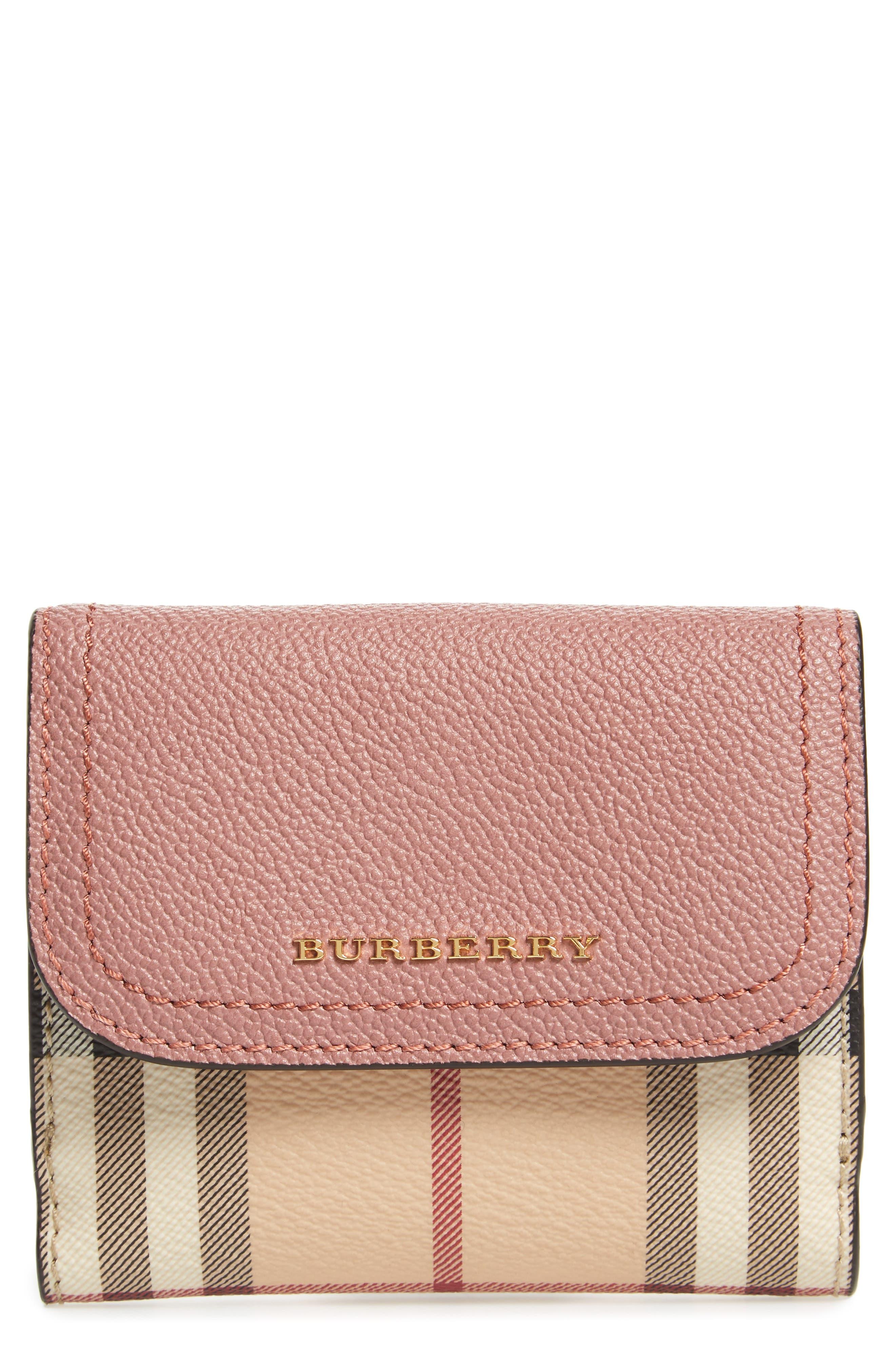 Luna French Haymarket Check Wallet,                         Main,                         color, Dusty Pink/ Multi