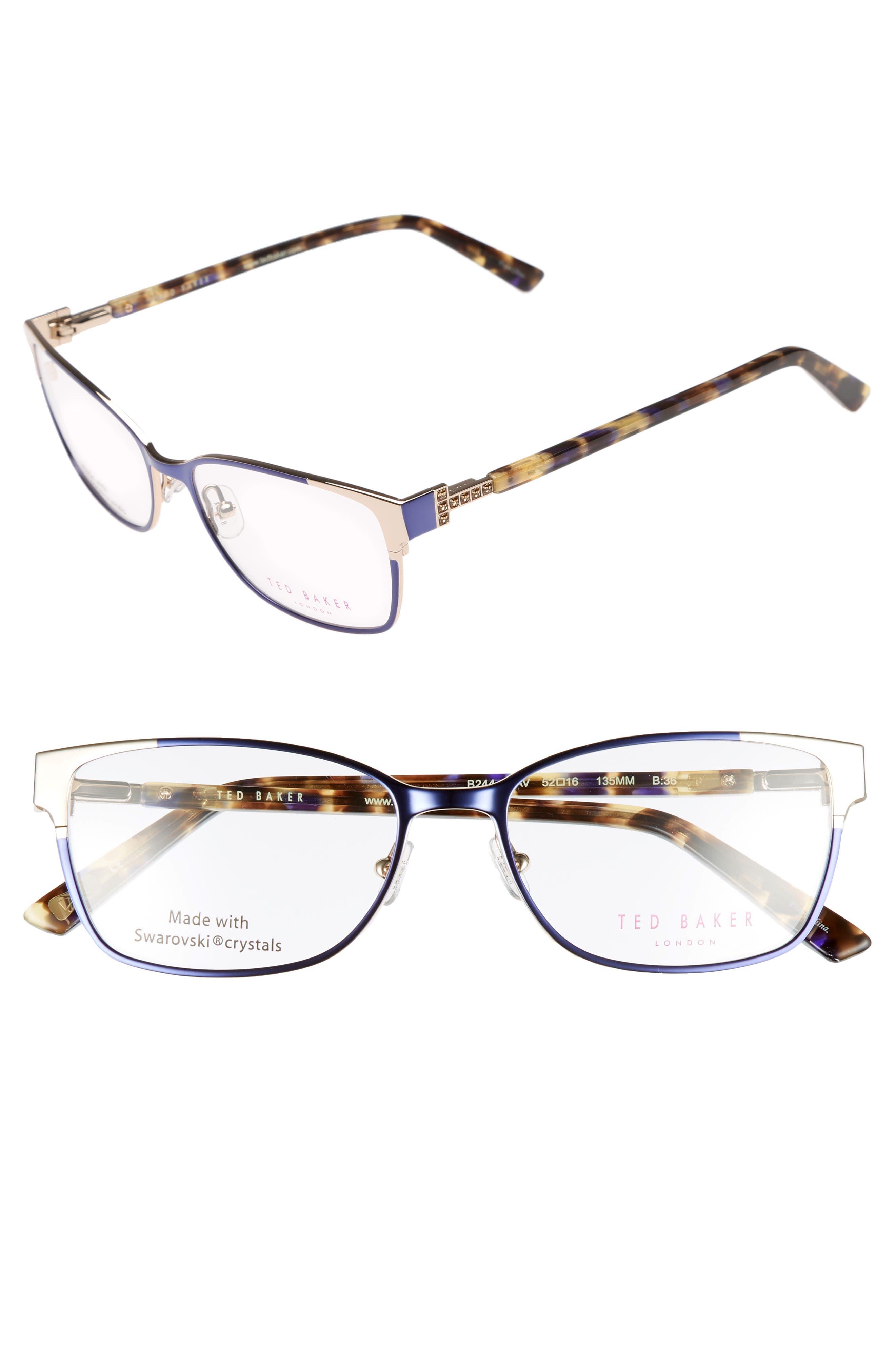 52mm Crystal Rectangular Optical Glasses,                             Main thumbnail 1, color,                             Blue