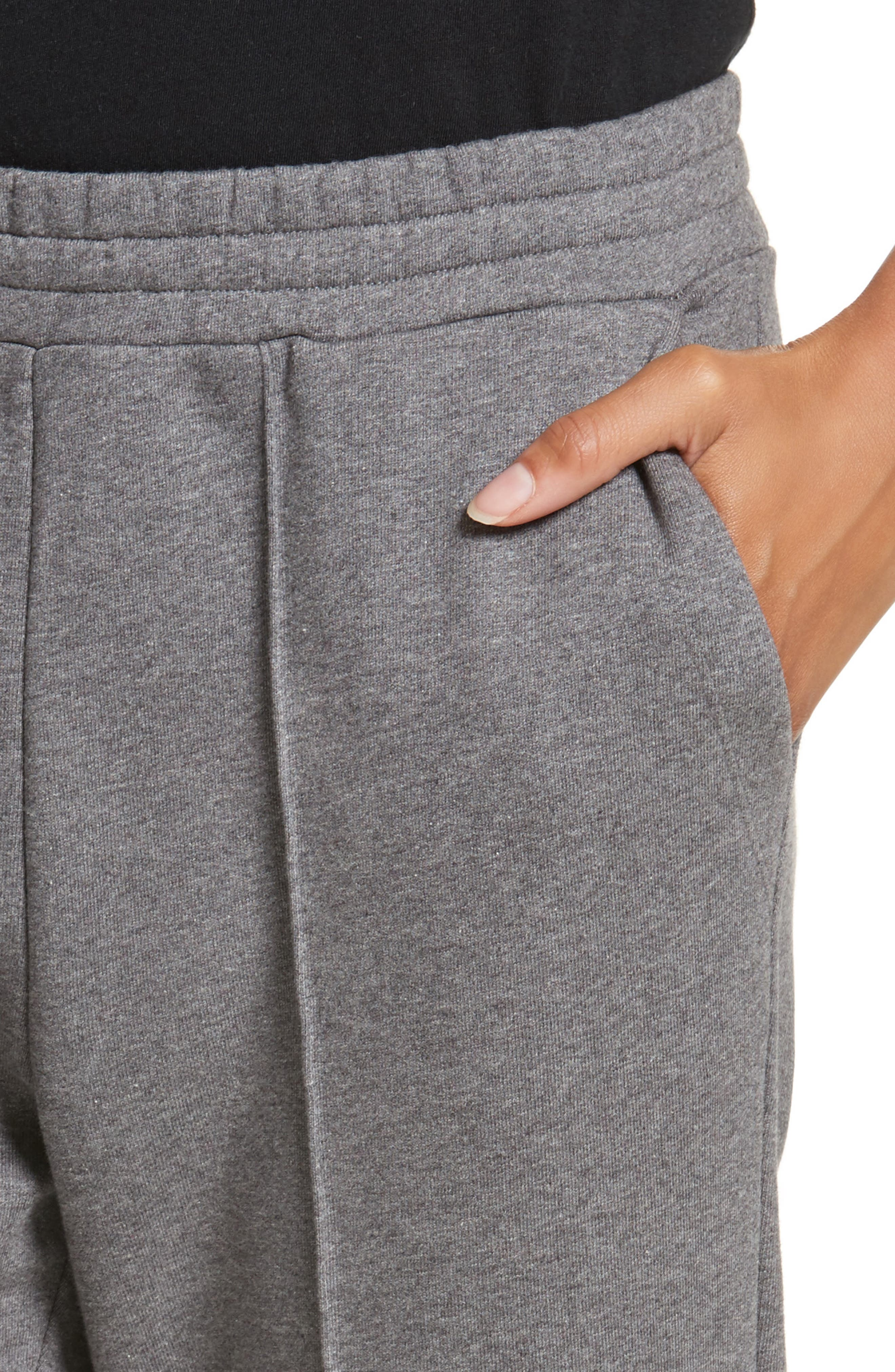 French Terry Leggings,                             Alternate thumbnail 4, color,                             Heather Grey