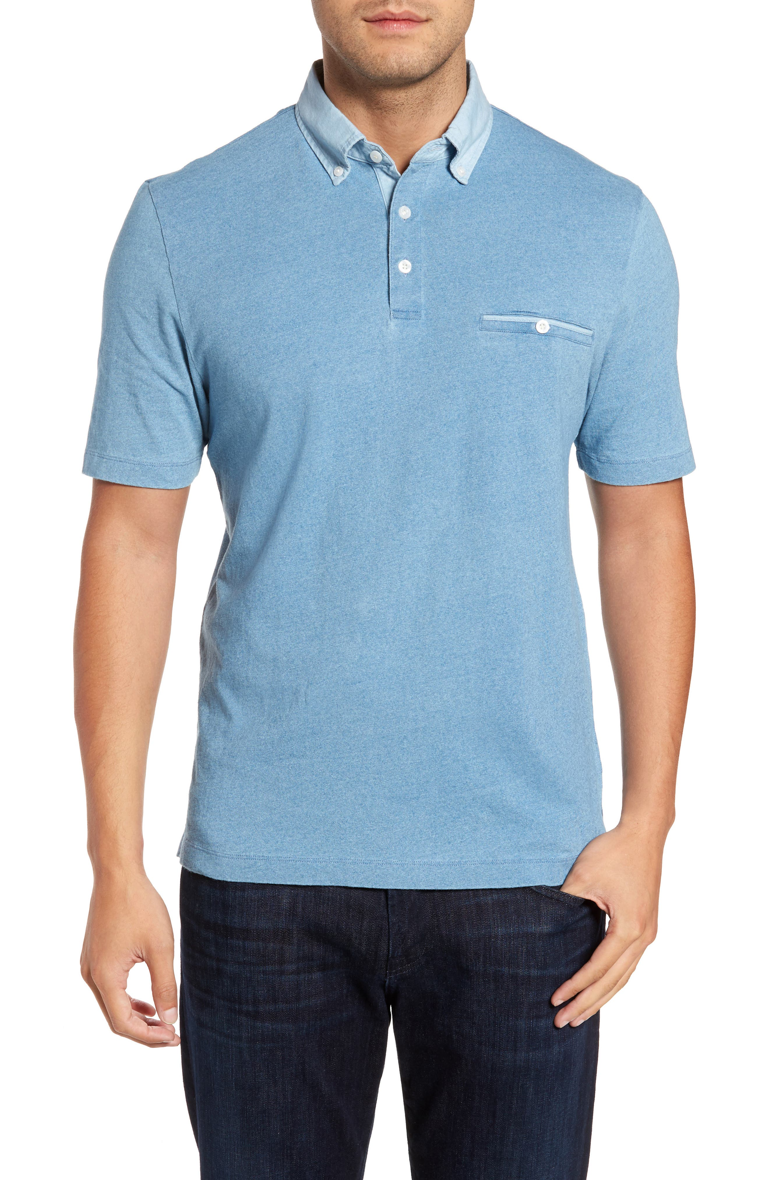 Denim Trim Jersey Polo,                         Main,                         color, Chambray