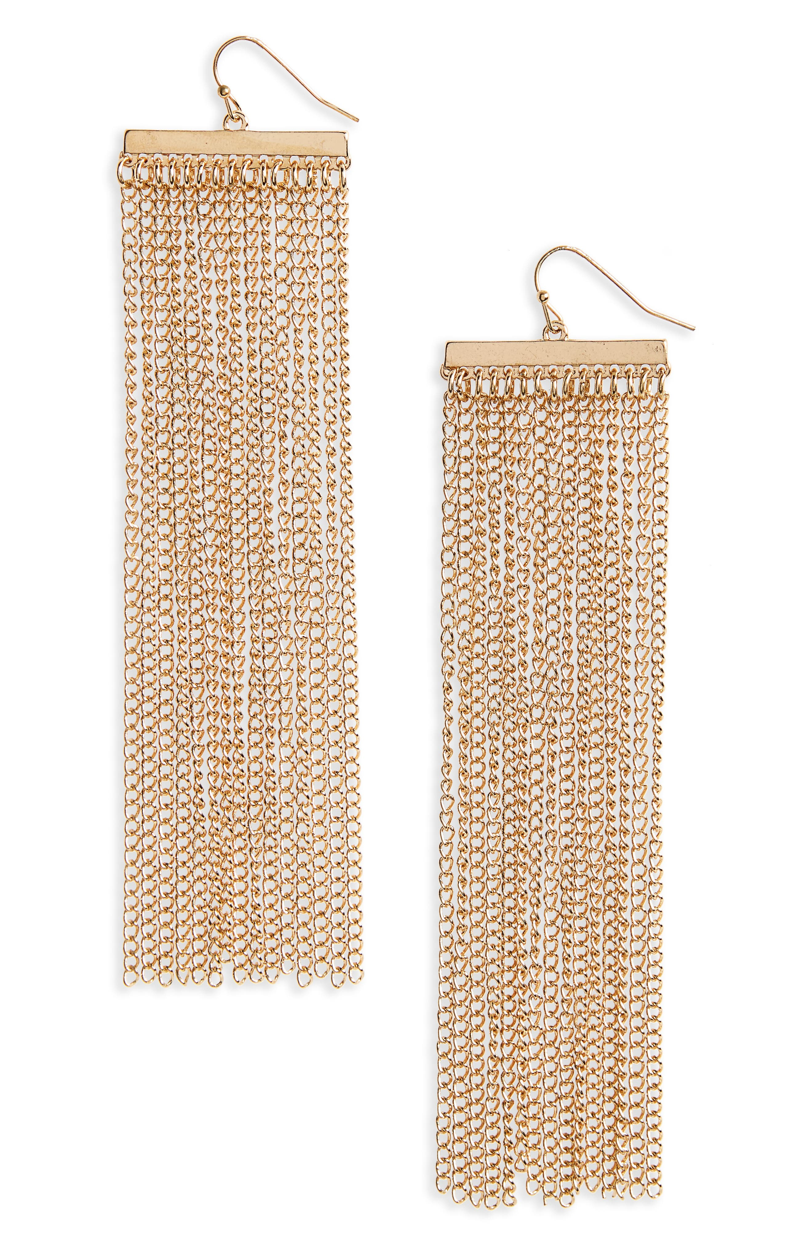 Goldtone Fringe Earrings,                         Main,                         color, Gold