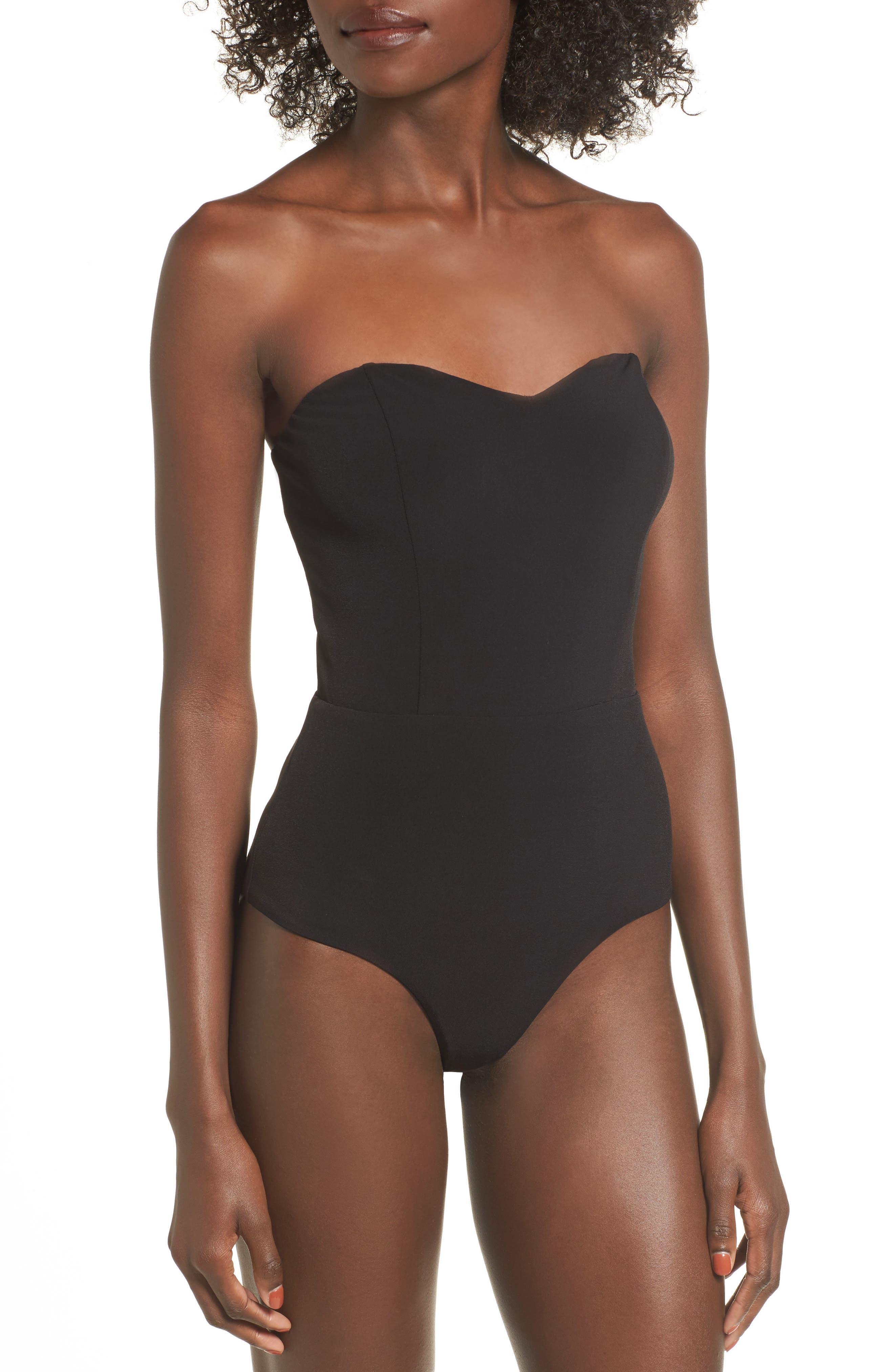 Patricia Strapless Bodysuit,                             Alternate thumbnail 4, color,                             Black