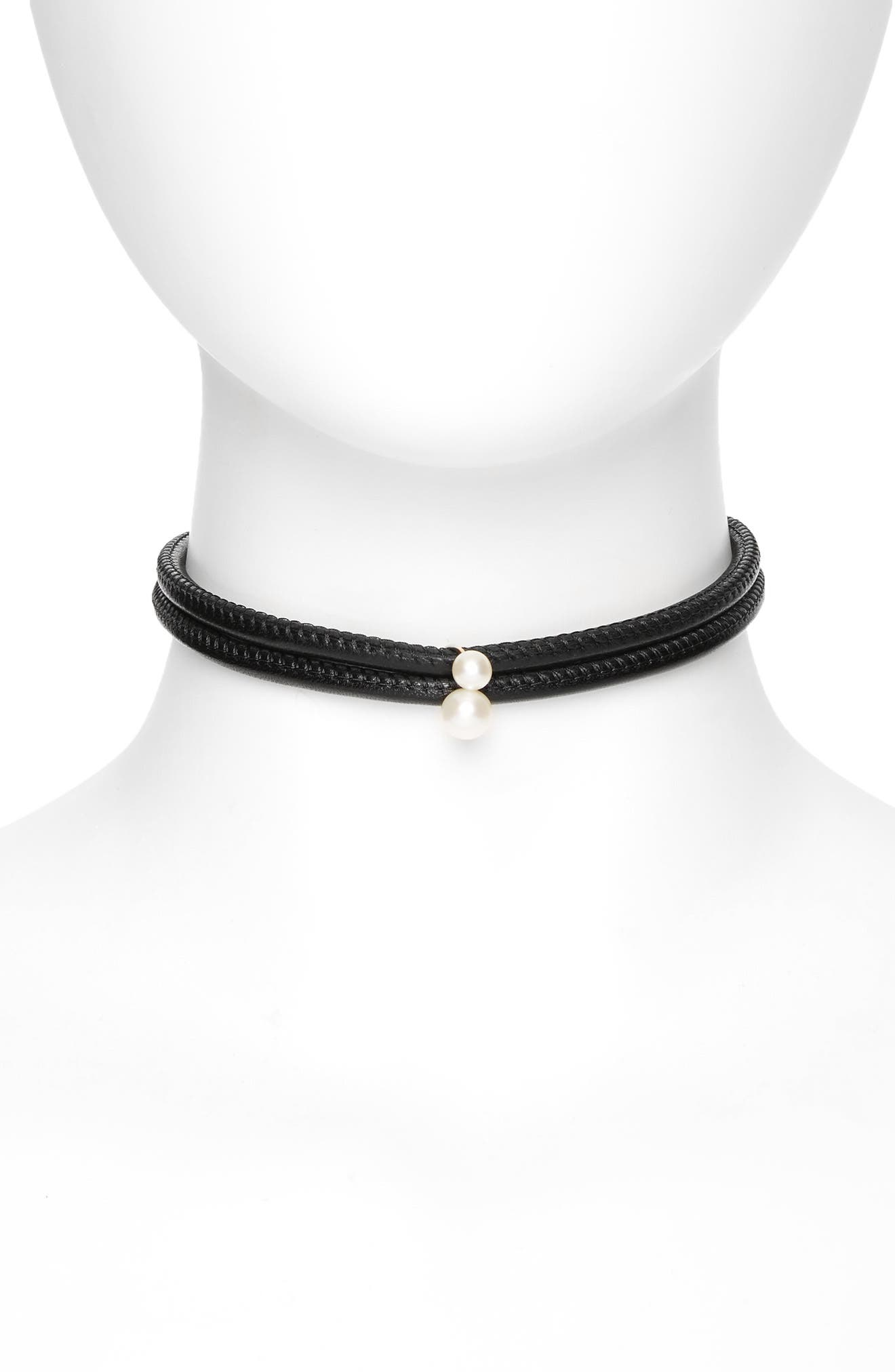 Leather & Akoya Pearl Choker Necklace,                         Main,                         color, Yellow Gold/ White Pearl